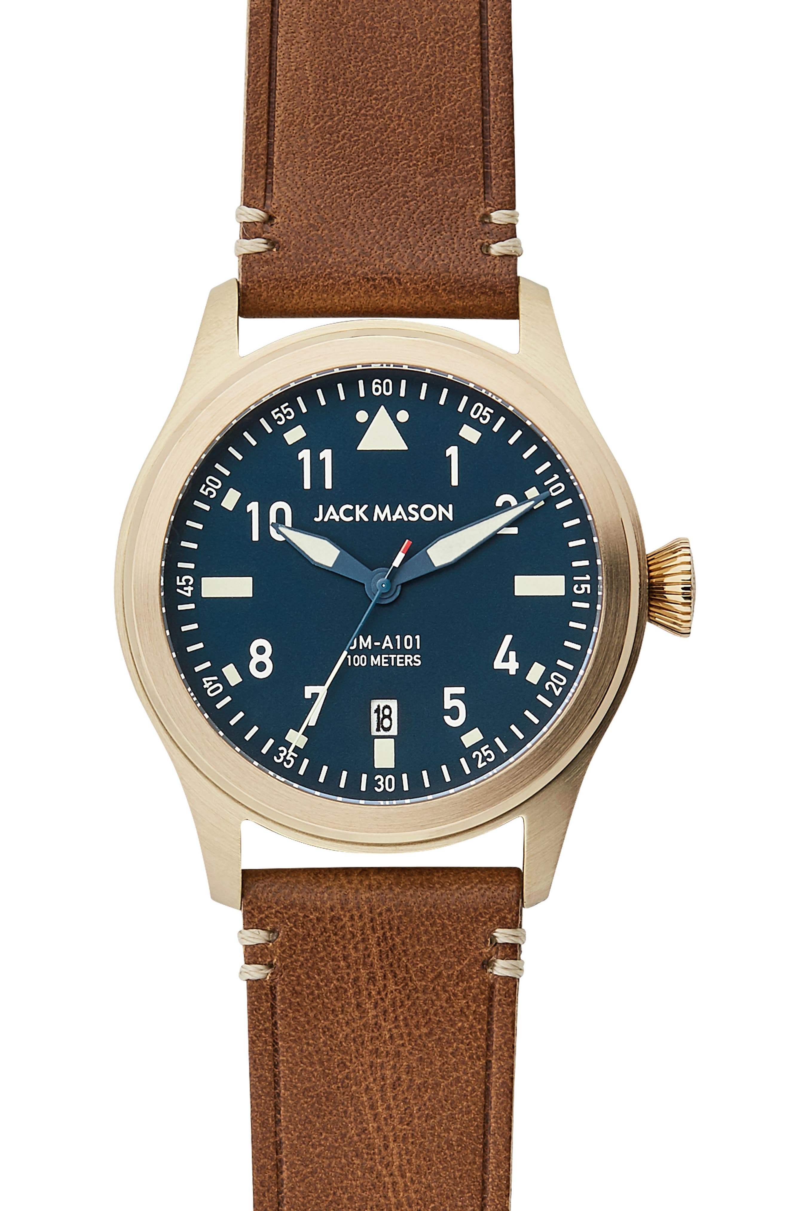 Aviation Leather Strap Watch, 42mm,                             Main thumbnail 1, color,                             Navy/ Saddle