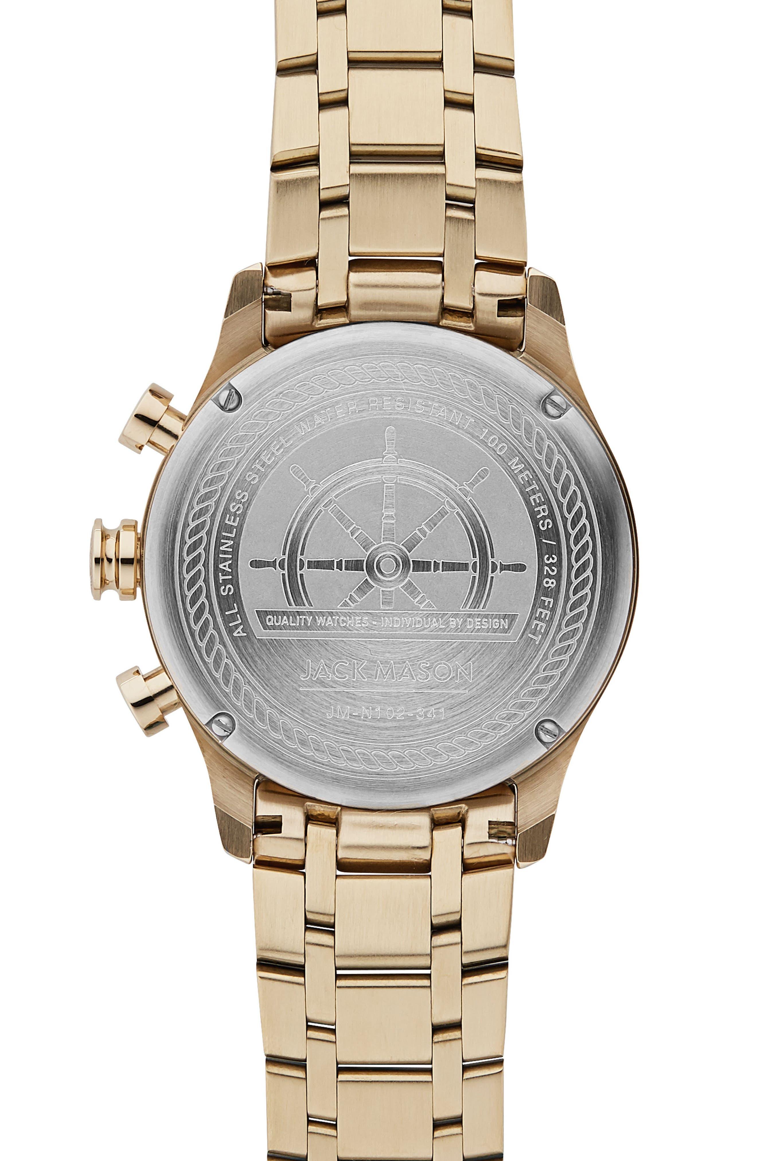 Nautical Chronograph Bracelet Watch, 42mm,                             Alternate thumbnail 2, color,                             White/ Gold