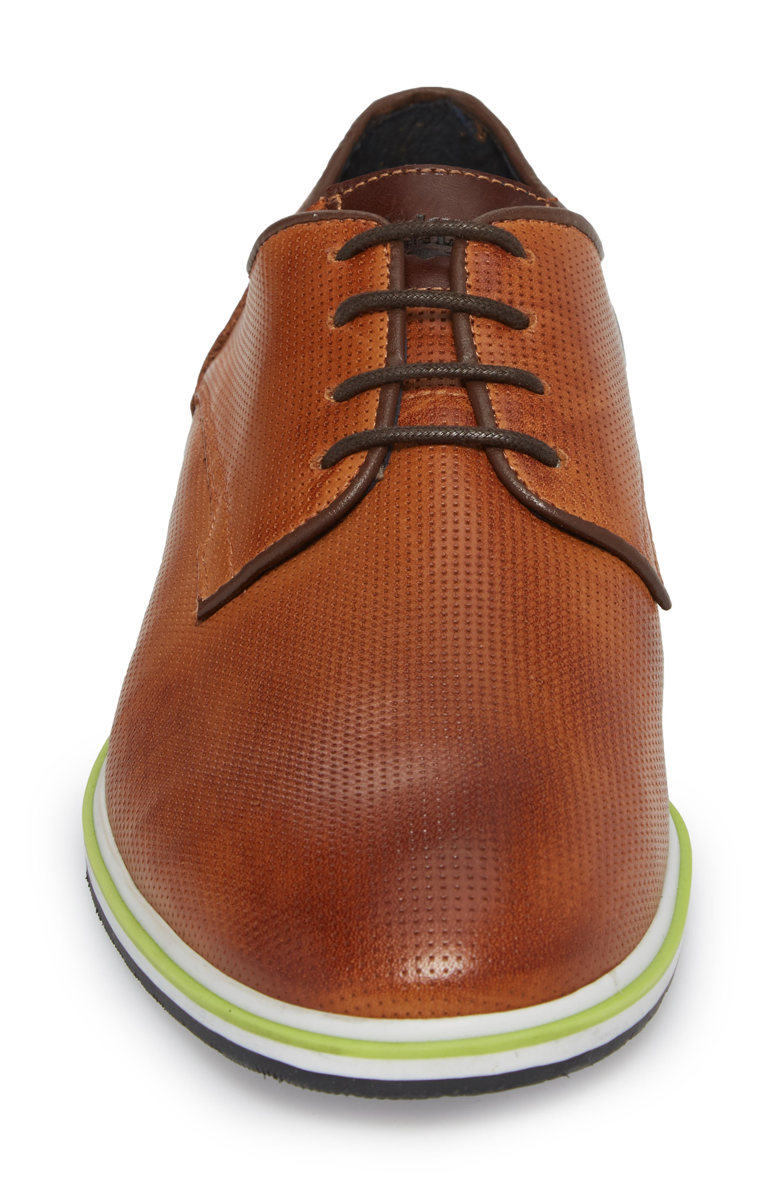 Plus Casual Perforated Derby,                             Alternate thumbnail 4, color,                             Cognac/ Dark Cognac Leather