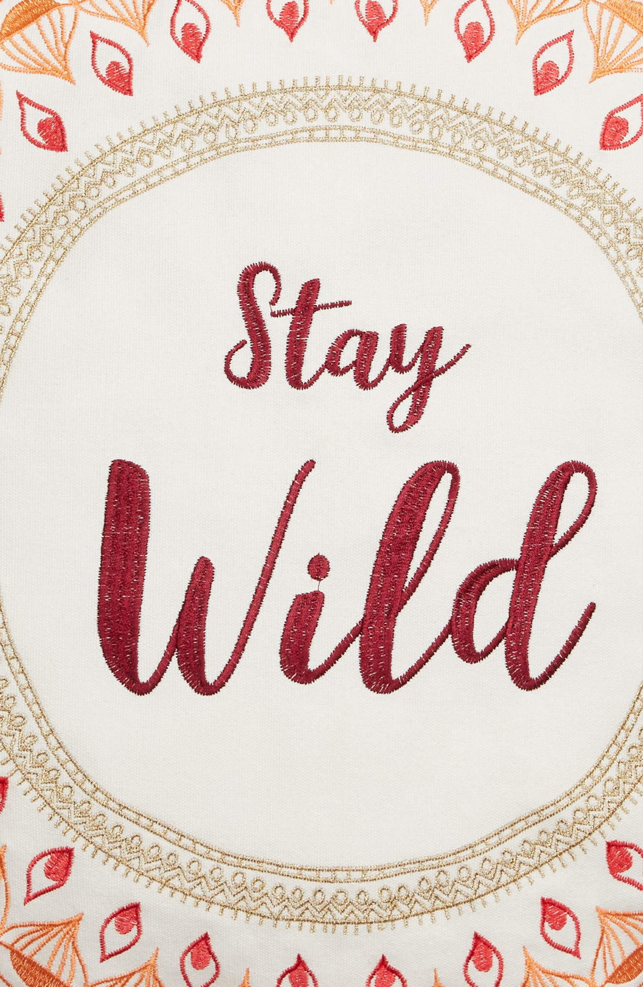 Saffron Stay Wild Accent Pillow,                             Alternate thumbnail 3, color,                             Ivory