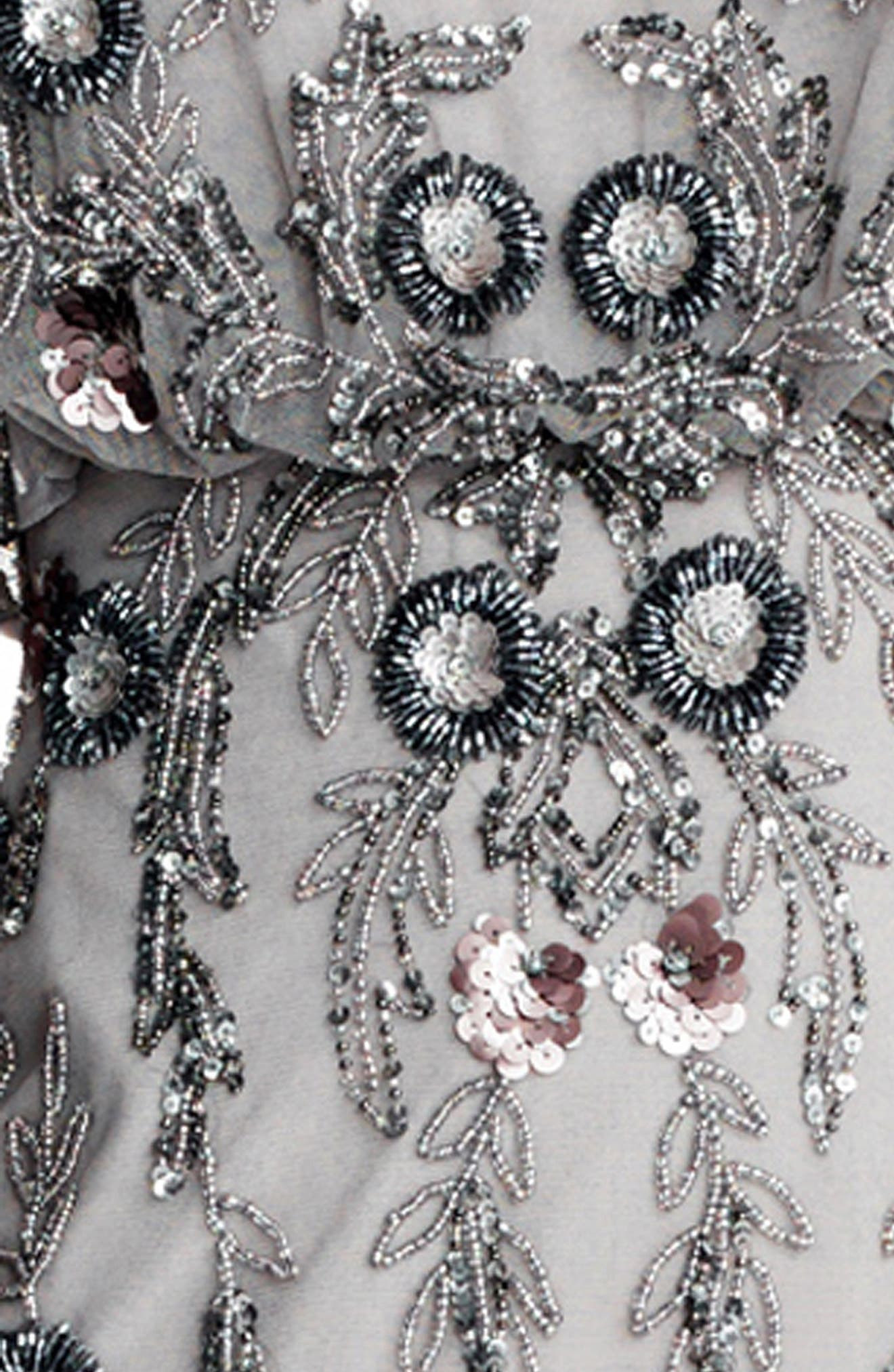 Mesh Blouson Gown,                             Alternate thumbnail 5, color,                             Platinum Multi