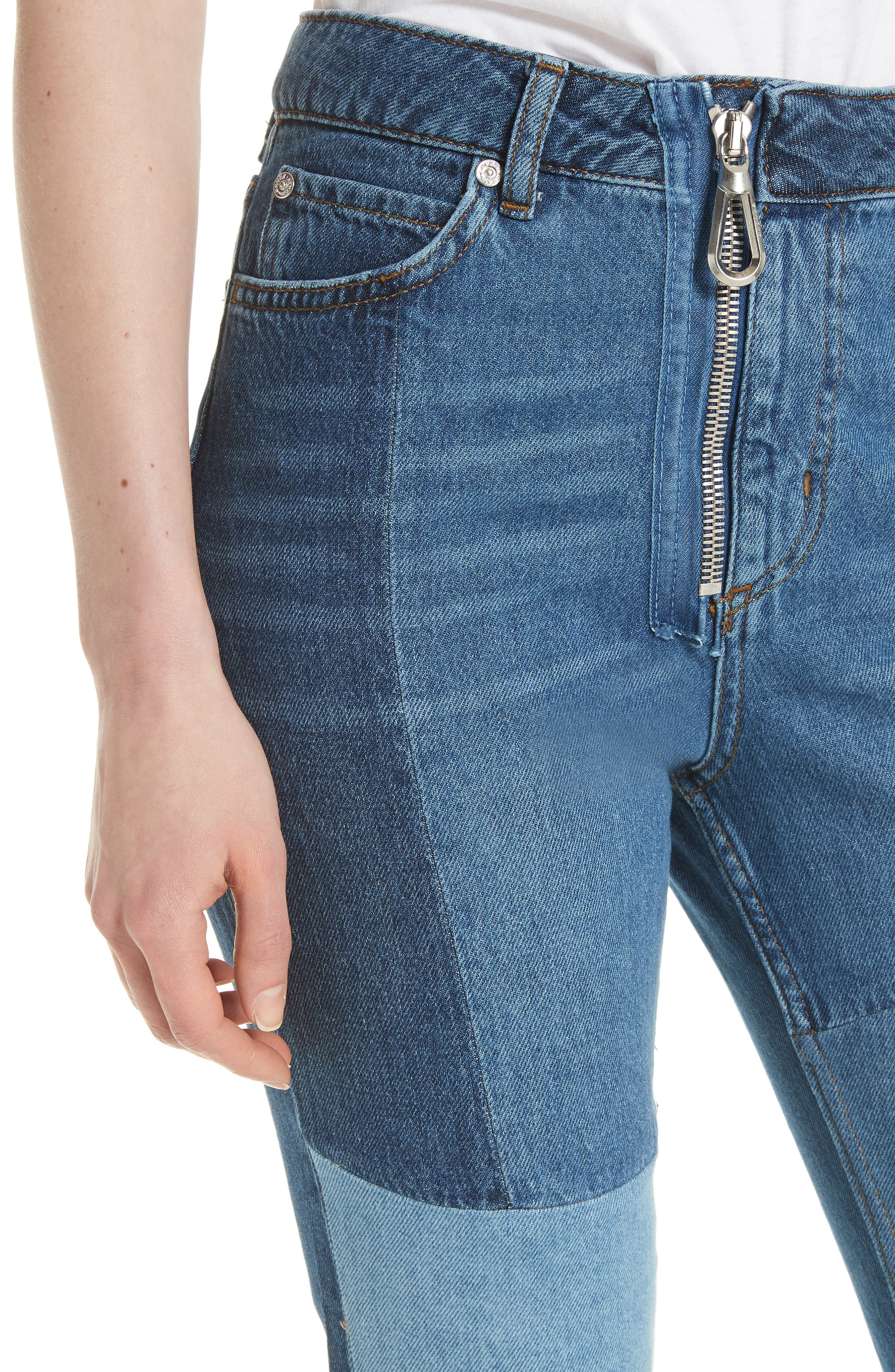Patch Skinny Jeans,                             Alternate thumbnail 4, color,                             Blue