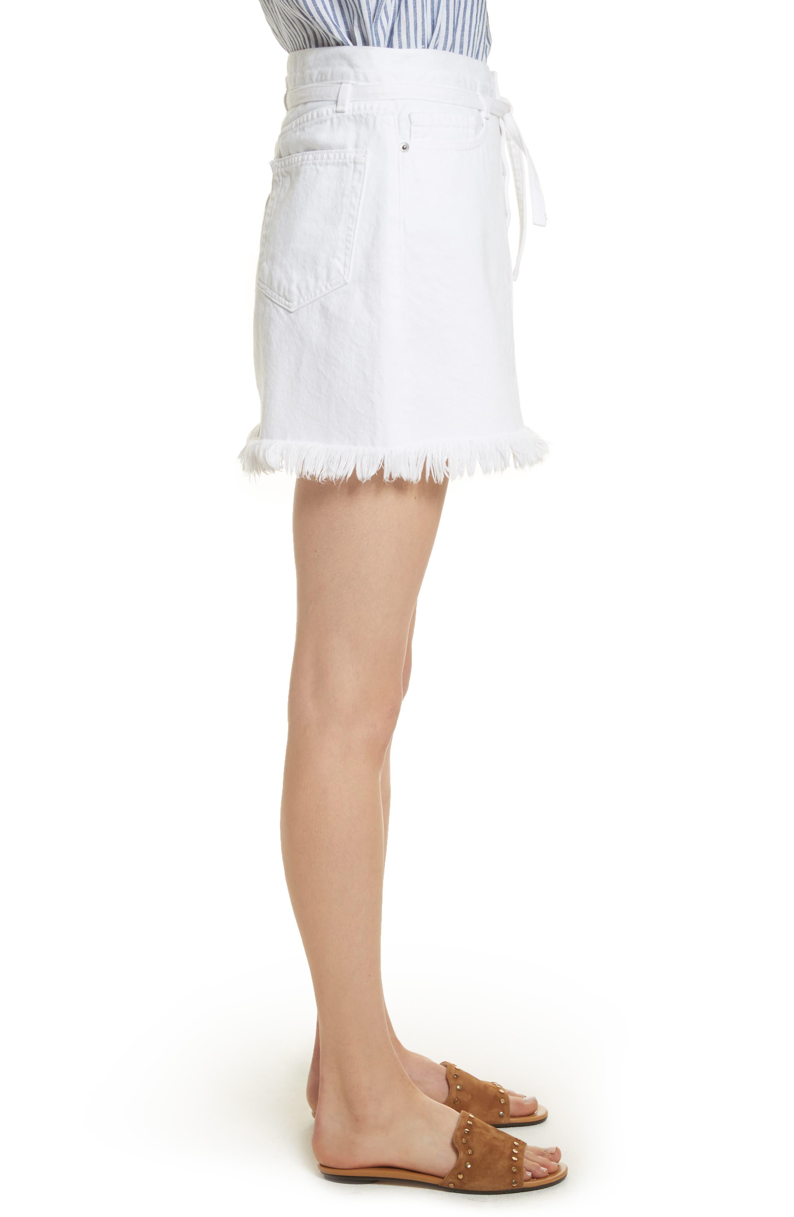 Le High Fray Hem Belted Denim Skirt,                             Alternate thumbnail 3, color,                             Blanc