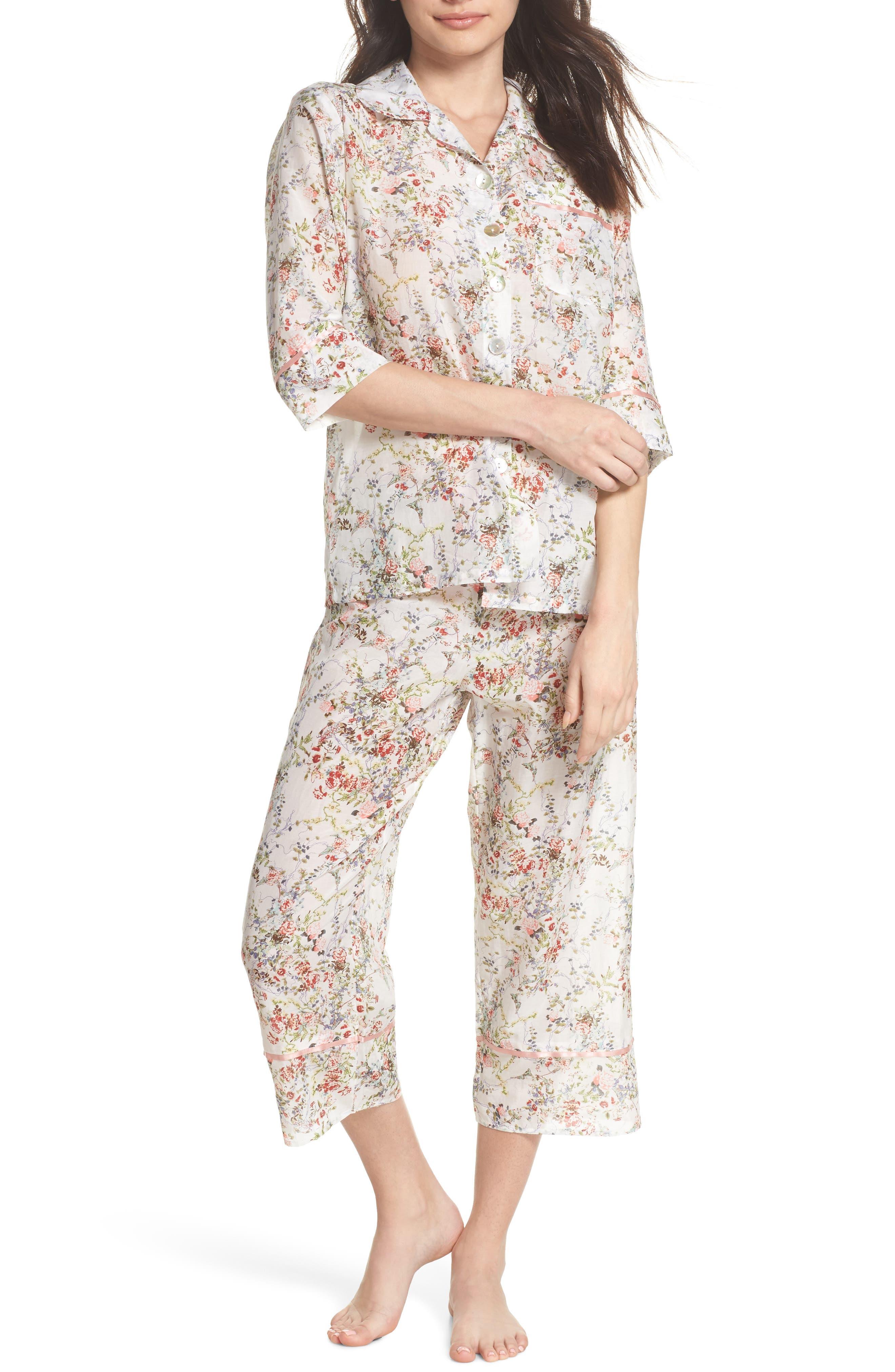 Yolly Floral Cotton & Silk Pajamas,                             Main thumbnail 1, color,                             Ivory Floral