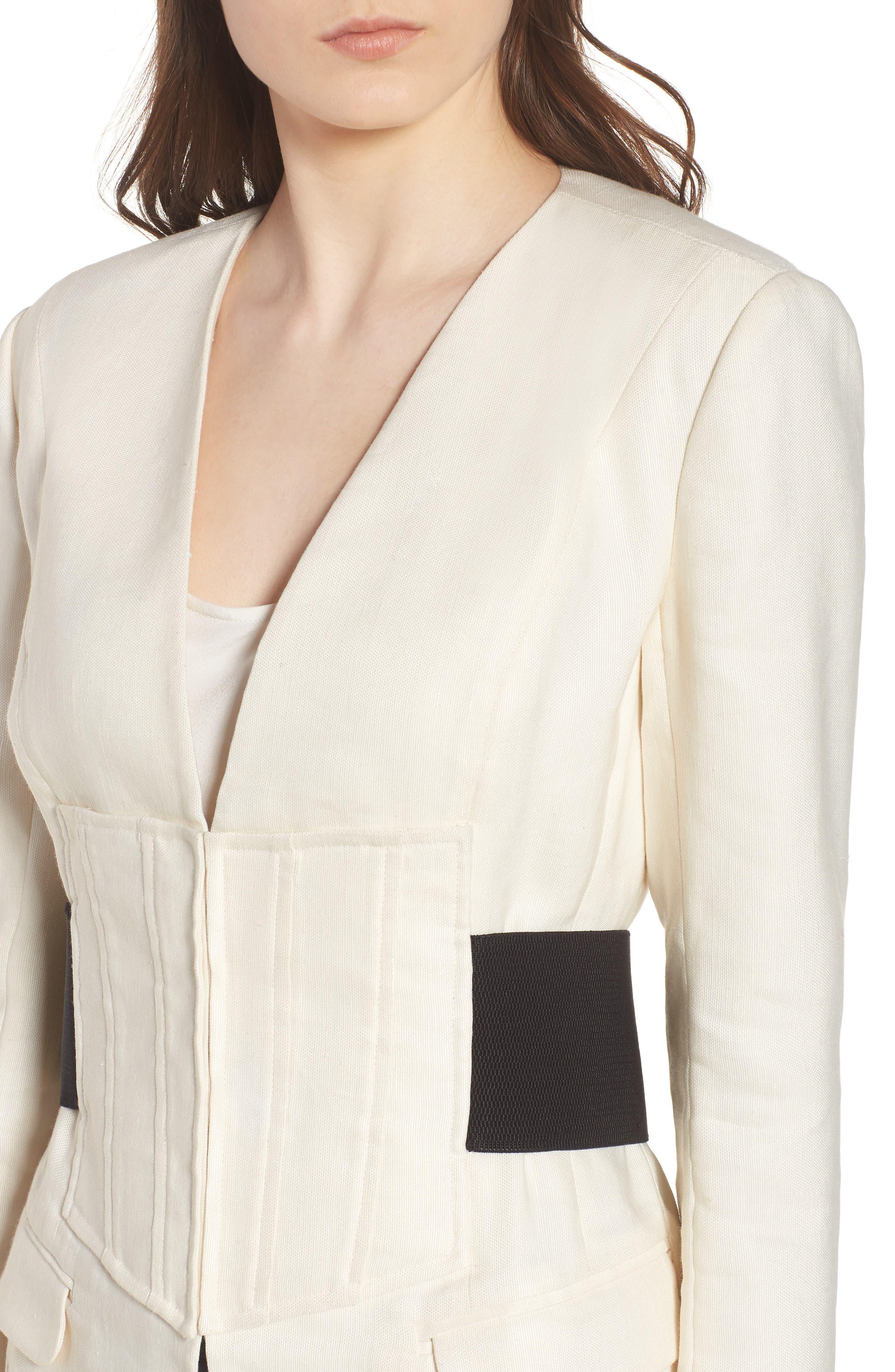 Corset Linen Blend Blazer,                             Alternate thumbnail 4, color,                             Ivory