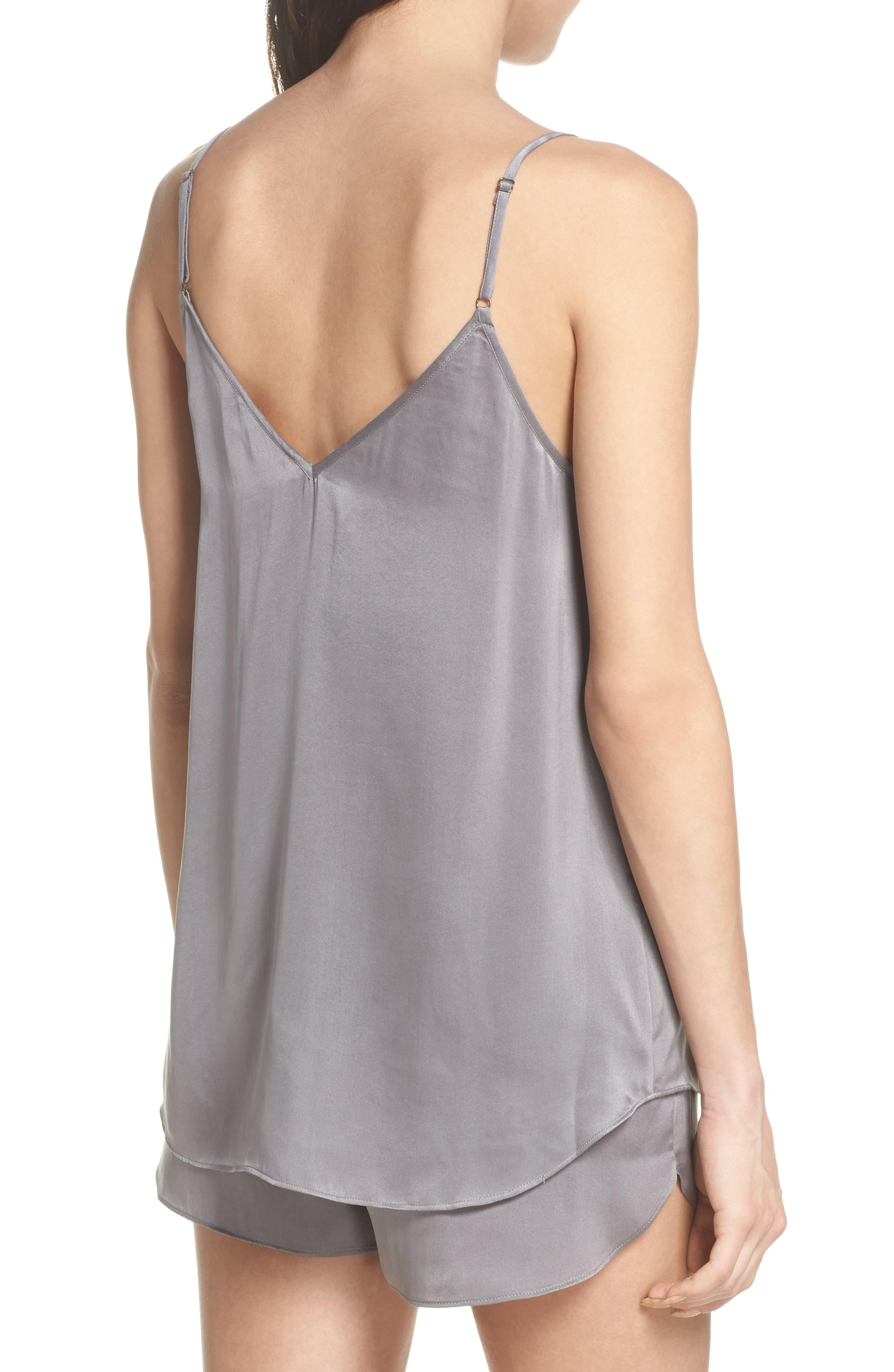 Short Silk Pajamas,                             Alternate thumbnail 2, color,                             Charcoal