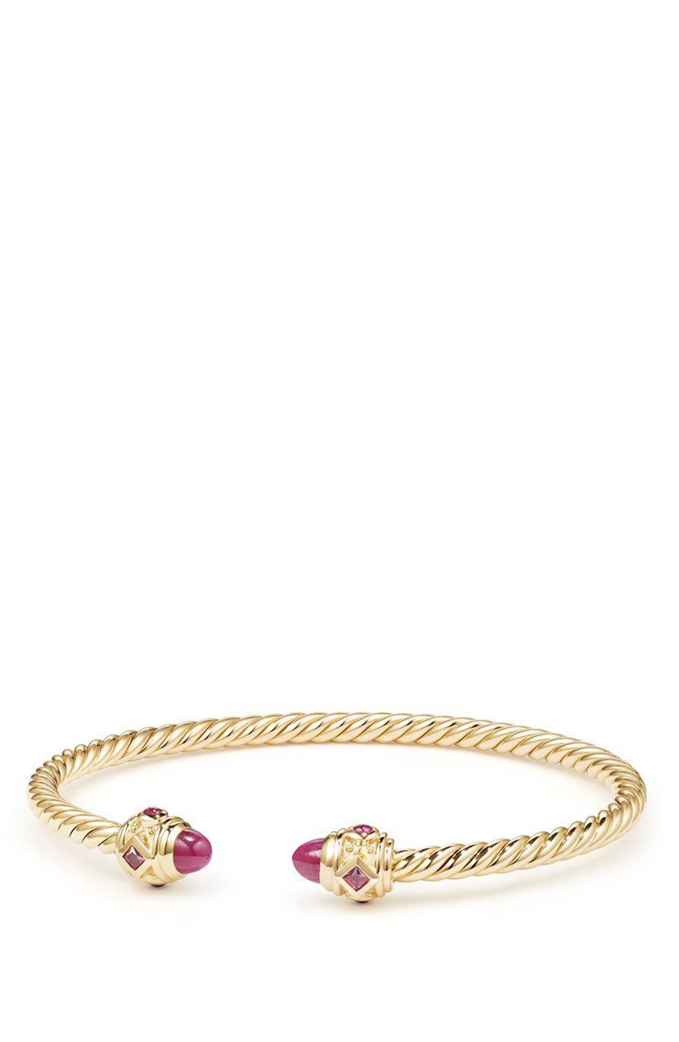 Renaissance Bracelet in 18K Gold, 3.5mm,                             Main thumbnail 1, color,                             Gold/ Ruby