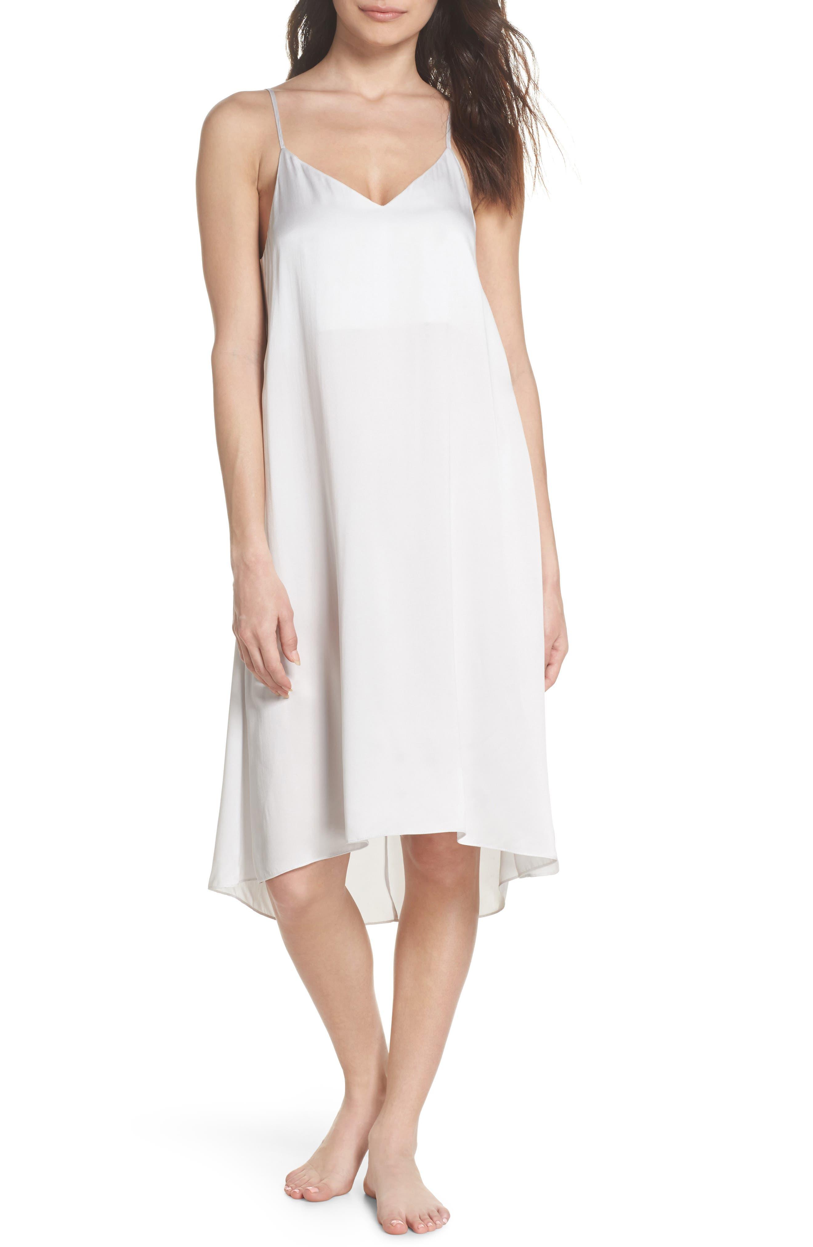 Silk Nightgown,                         Main,                         color, Ice Grey
