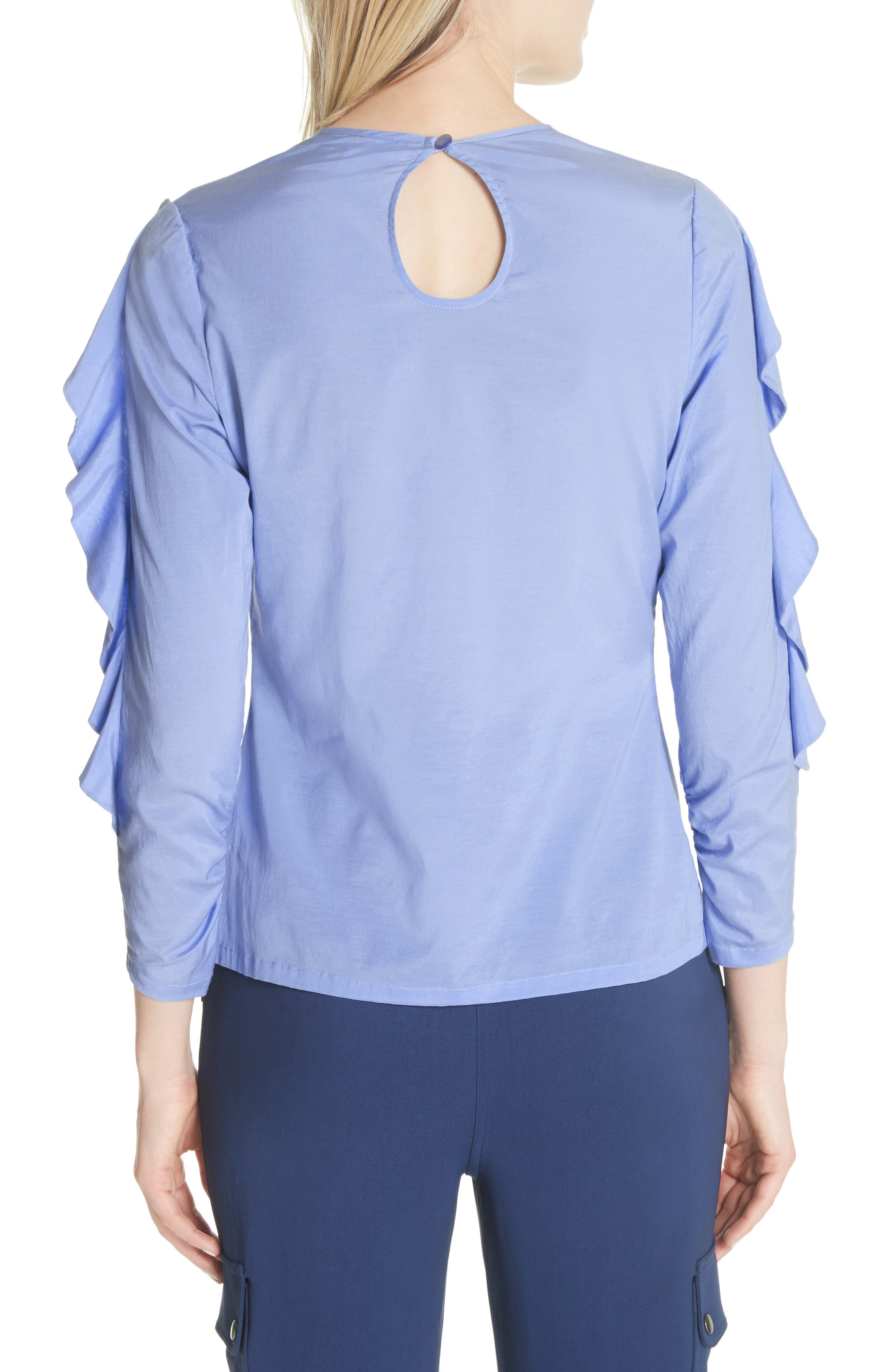 Frilled Stretch Silk Top,                             Alternate thumbnail 2, color,                             Periwinkle