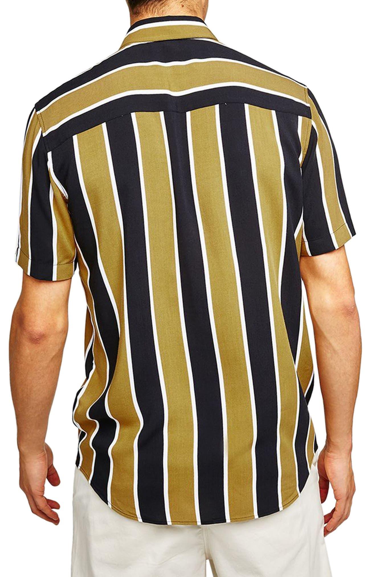 Stripe Viscose Shirt,                             Alternate thumbnail 2, color,                             Mustard Multi