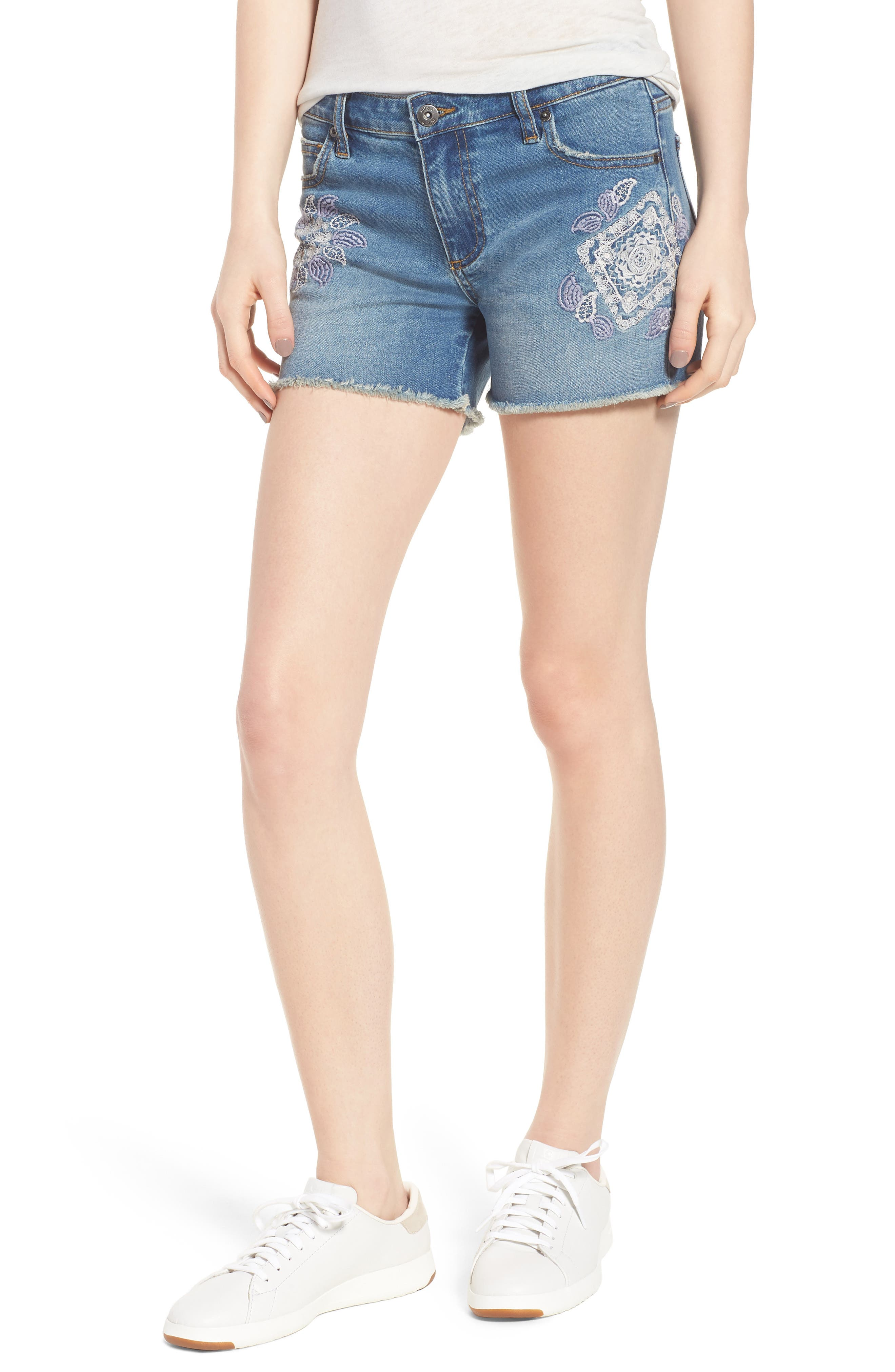 Embroidered Denim Shorts,                             Main thumbnail 1, color,                             Blue W/ Embroider