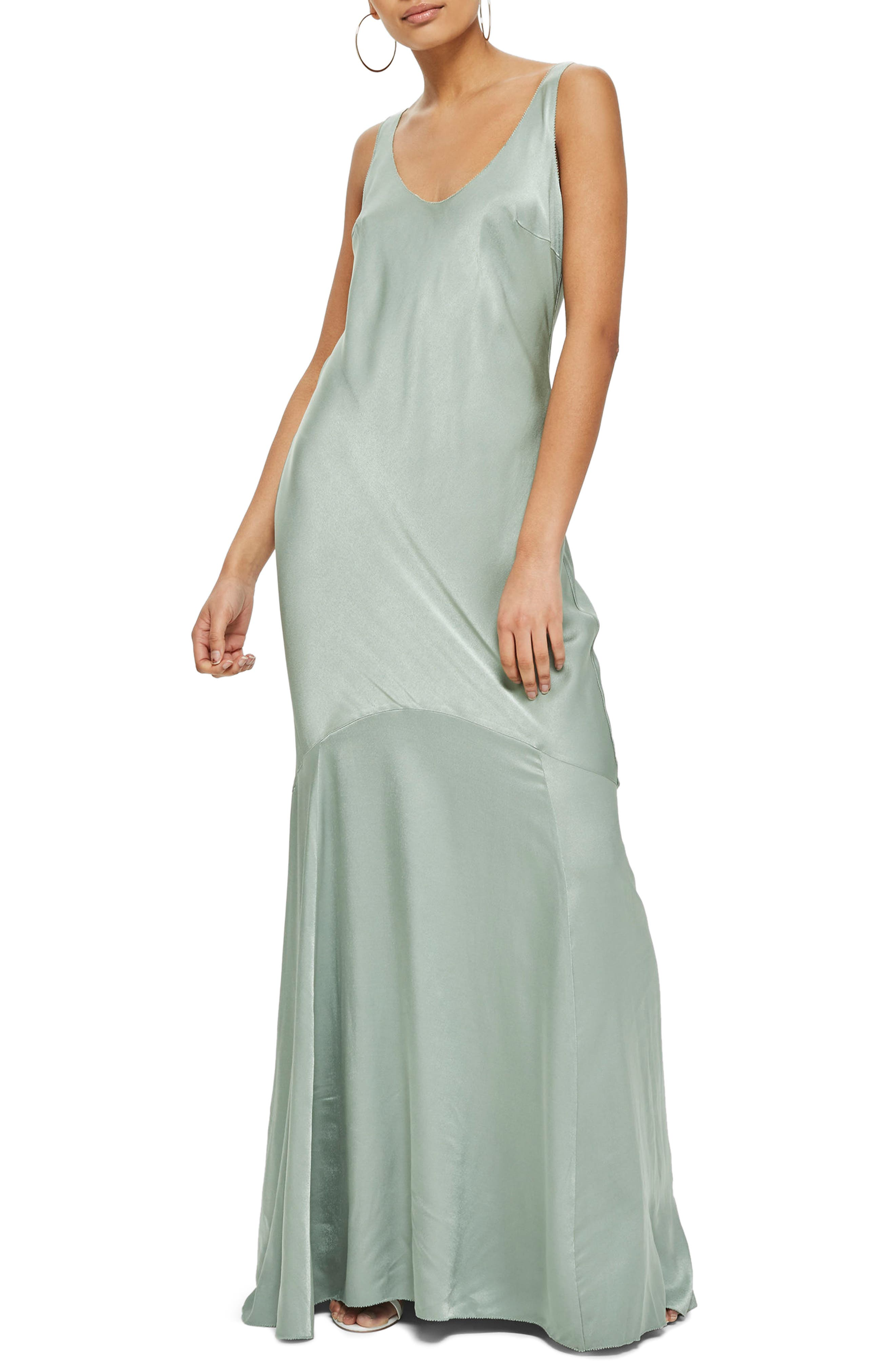 Satin Fishtail Gown,                         Main,                         color, Green