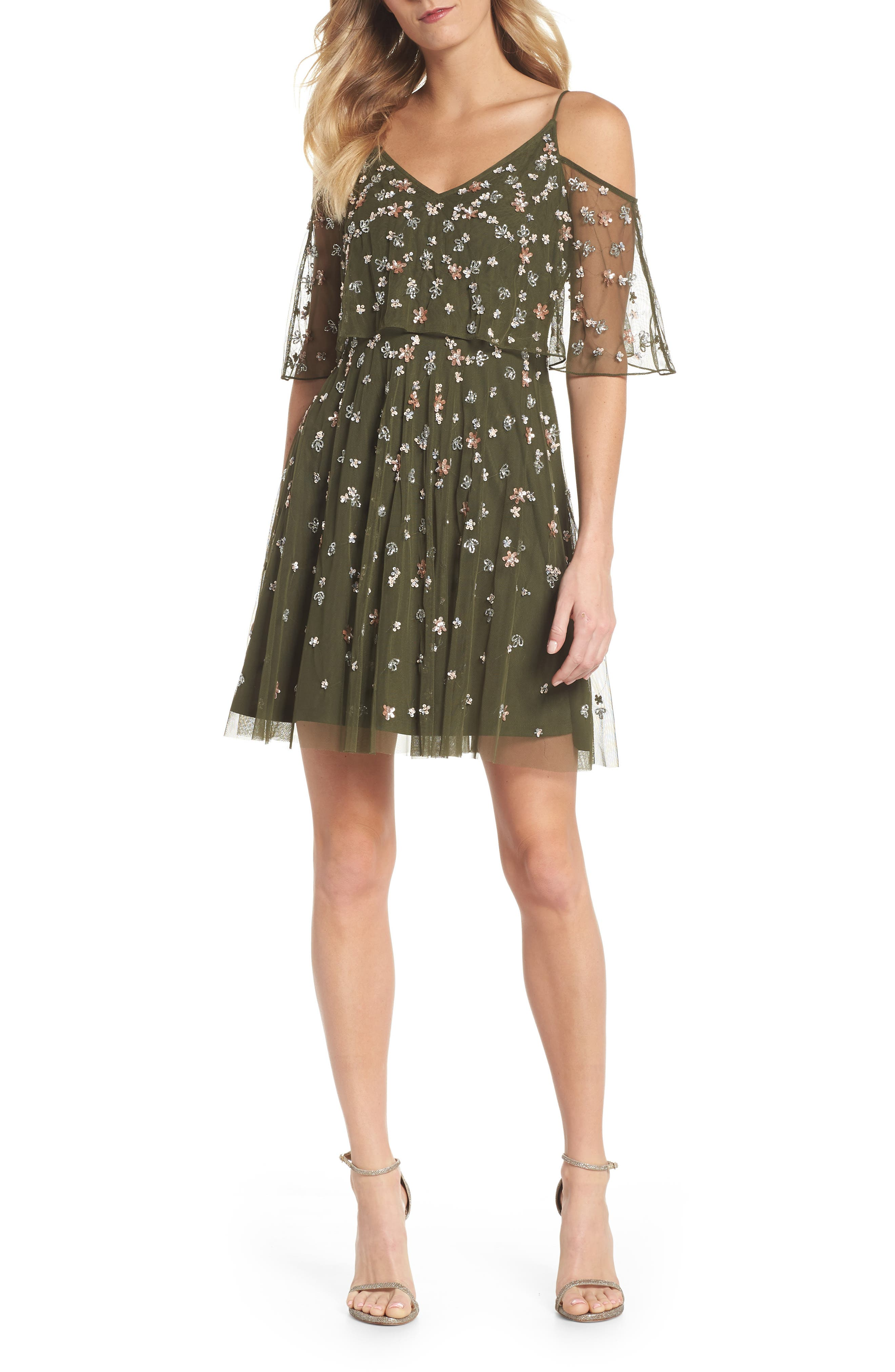 Beaded Overlay Minidress,                         Main,                         color, Olive