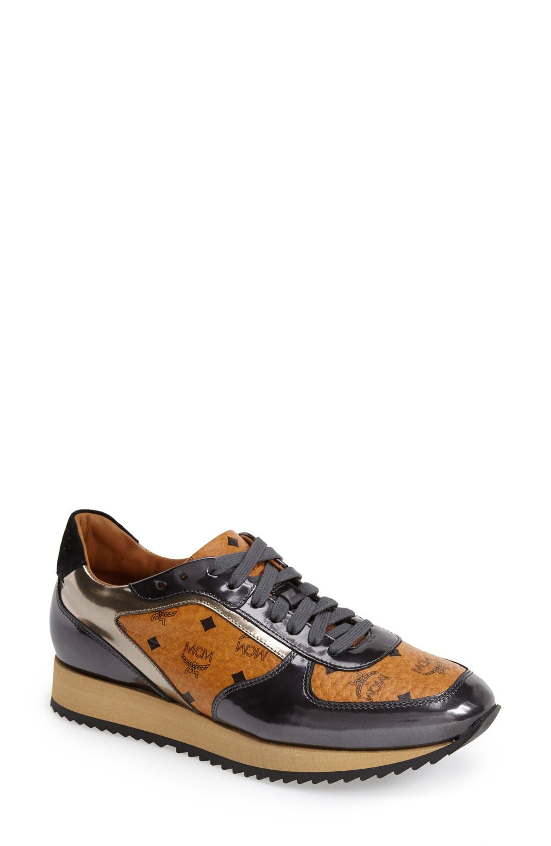 Alternate Image 1 Selected - MCM Coated Canvas & Leather Trainer (Women)