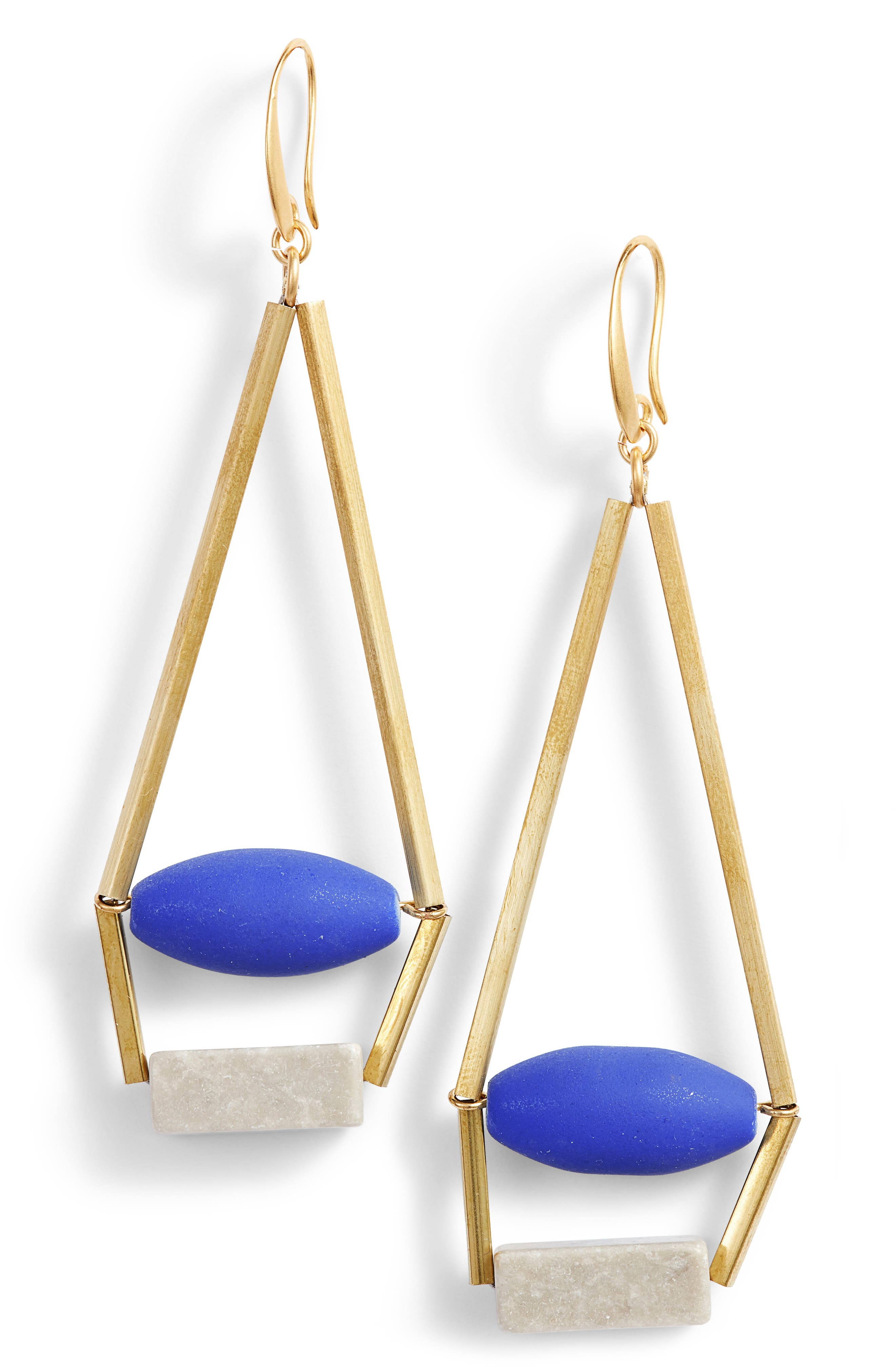 Uma Royal Structure Earrings,                         Main,                         color, Blue/ Gold