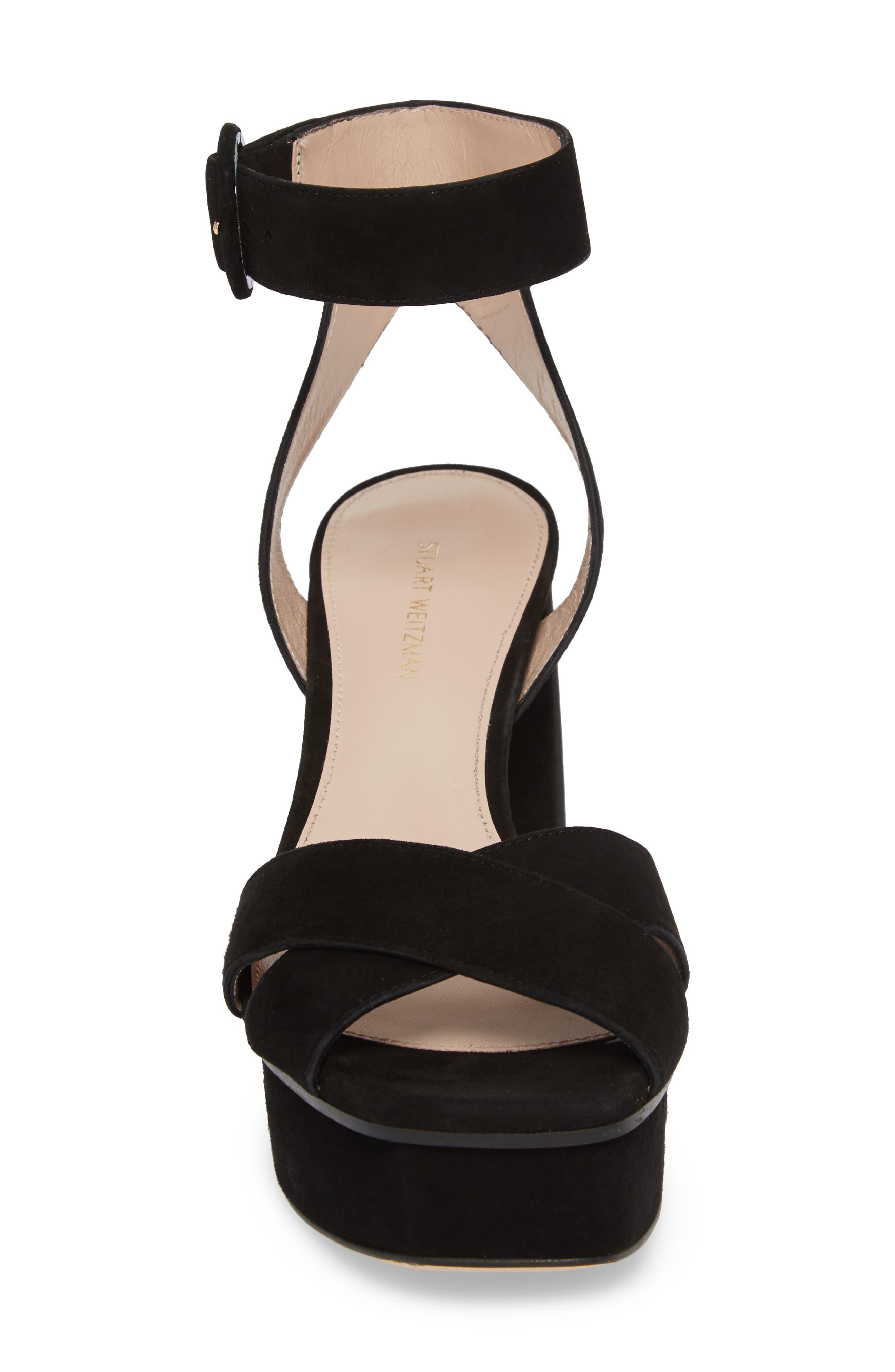Carmina Ankle Strap Platform Sandal,                             Alternate thumbnail 4, color,                             Black Seda Suede