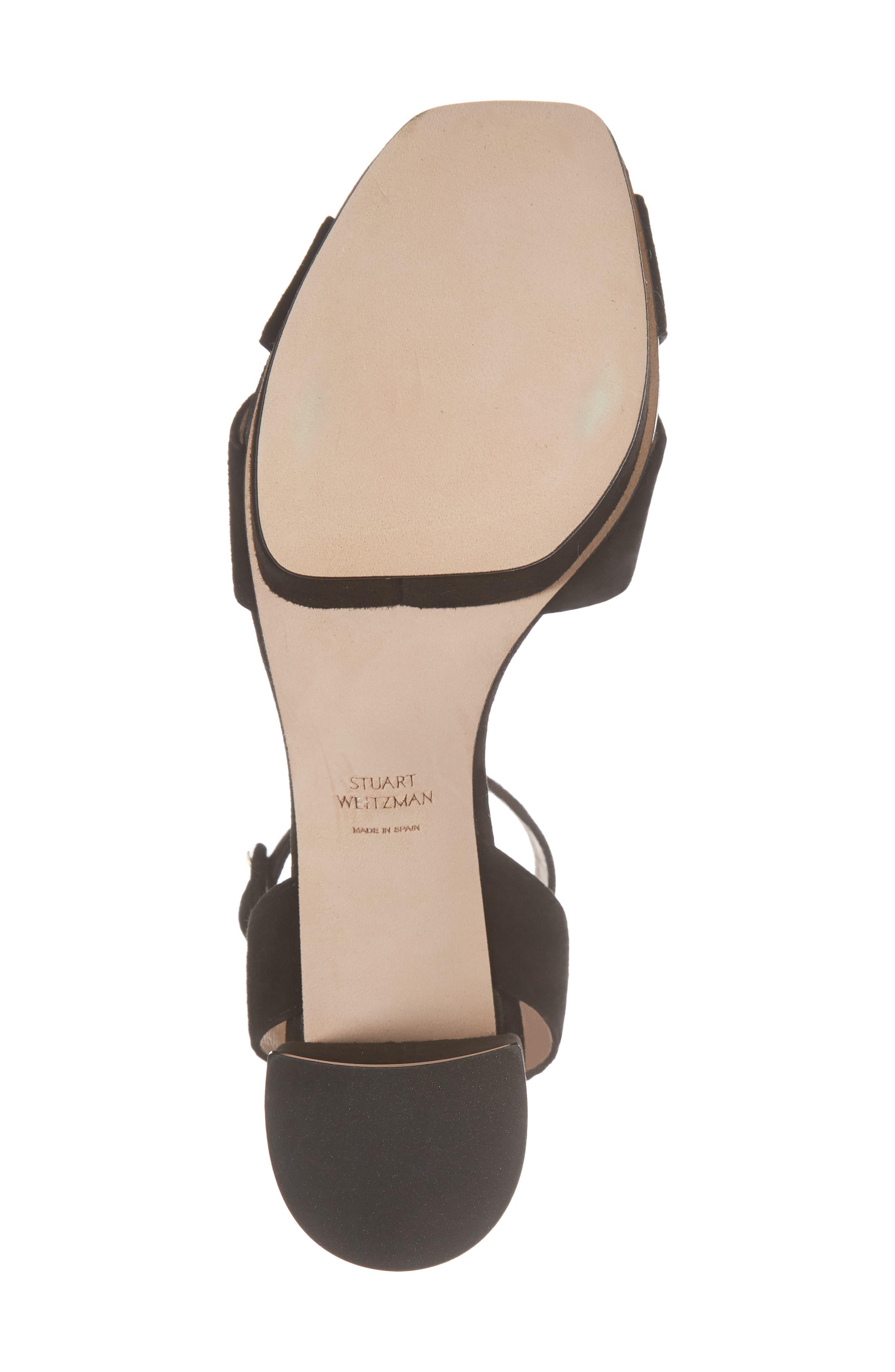 Carmina Ankle Strap Platform Sandal,                             Alternate thumbnail 6, color,                             Black Seda Suede