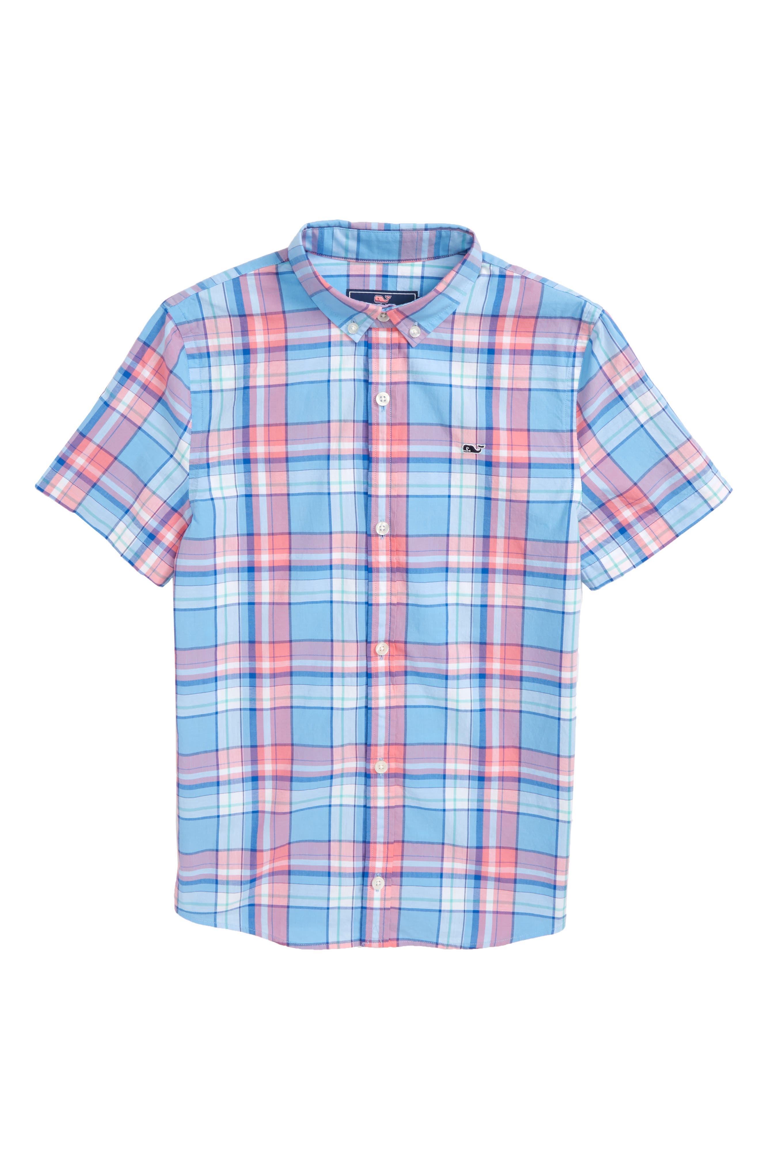 Bluff House Plaid Woven Shirt,                         Main,                         color, Ocean Breeze