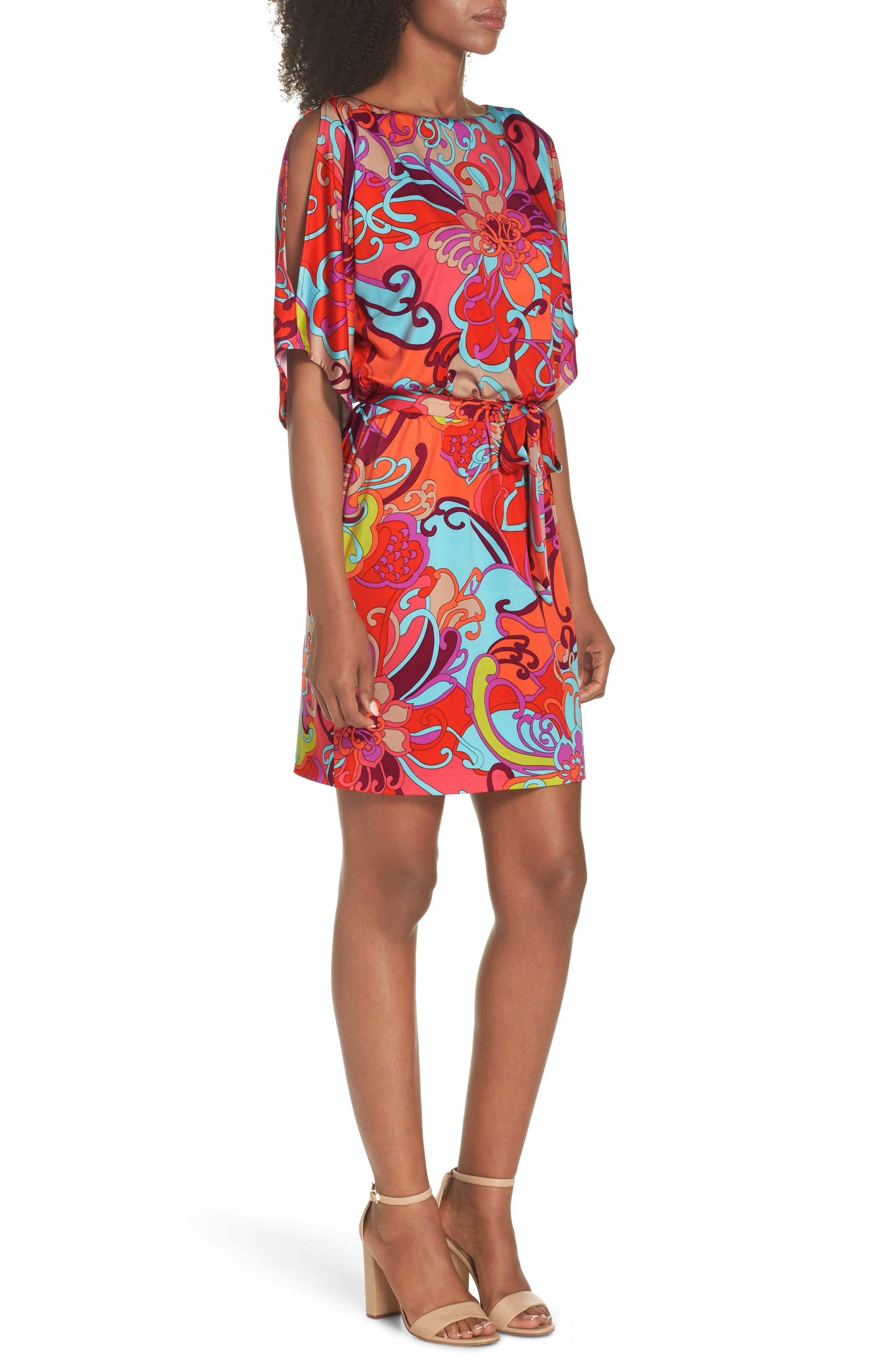 Bernice Print Dress,                             Alternate thumbnail 3, color,                             Coral Lily
