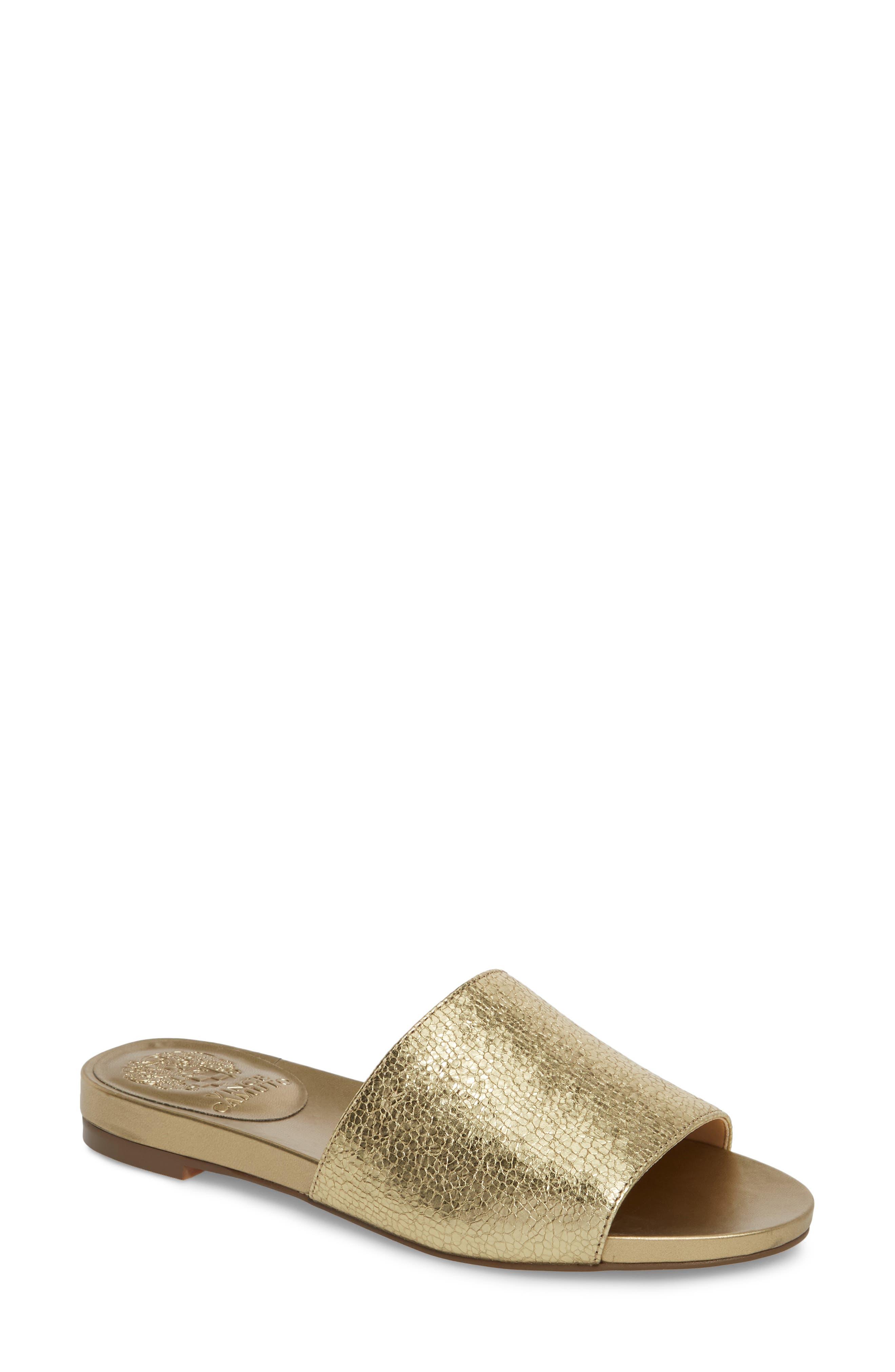 Haydan Slide Sandal,                             Main thumbnail 1, color,                             Karat Gold Fabric