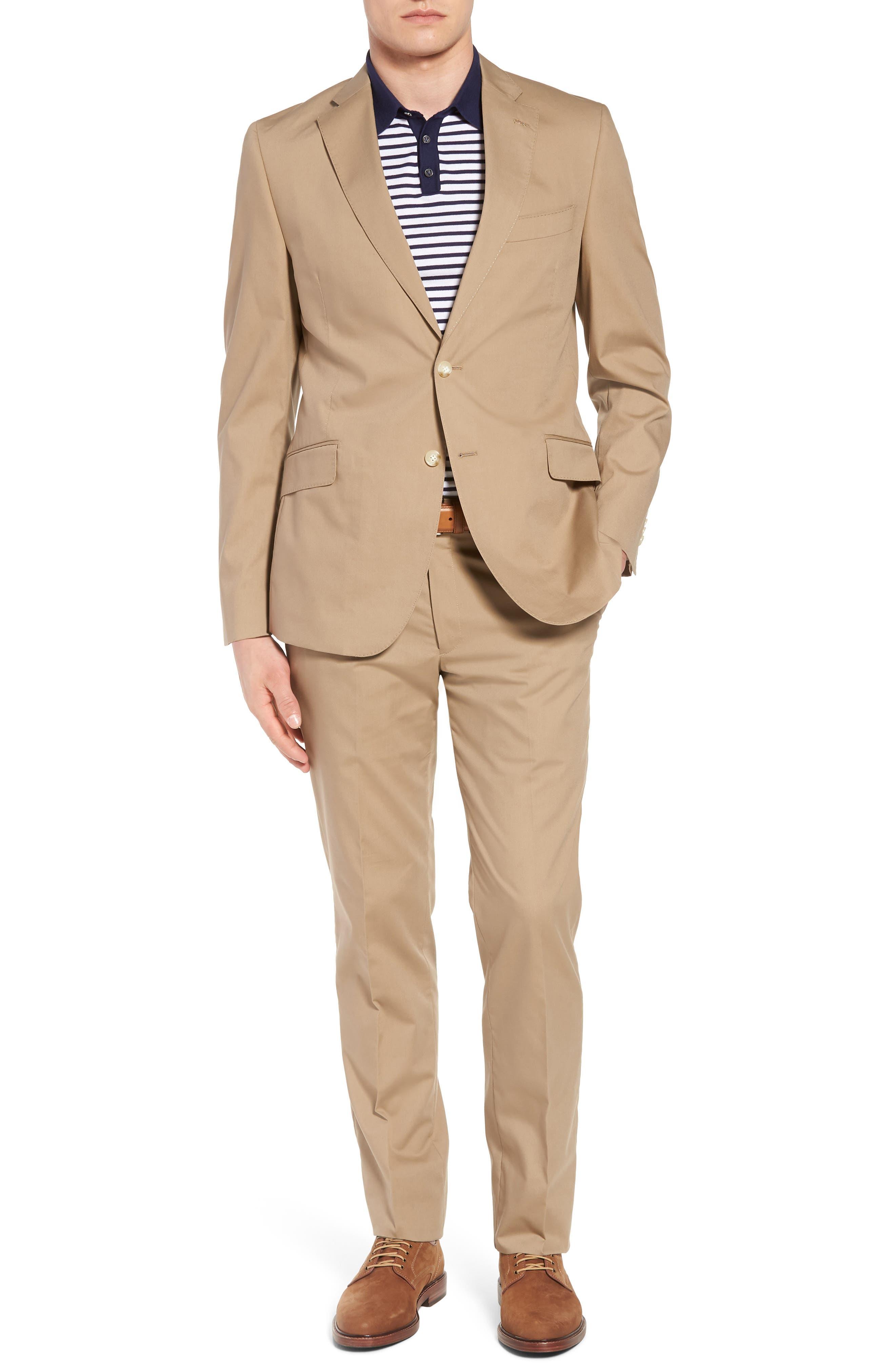 Irons AIM Classic Fit Solid Cotton Blend Suit,                             Main thumbnail 1, color,                             Khaki