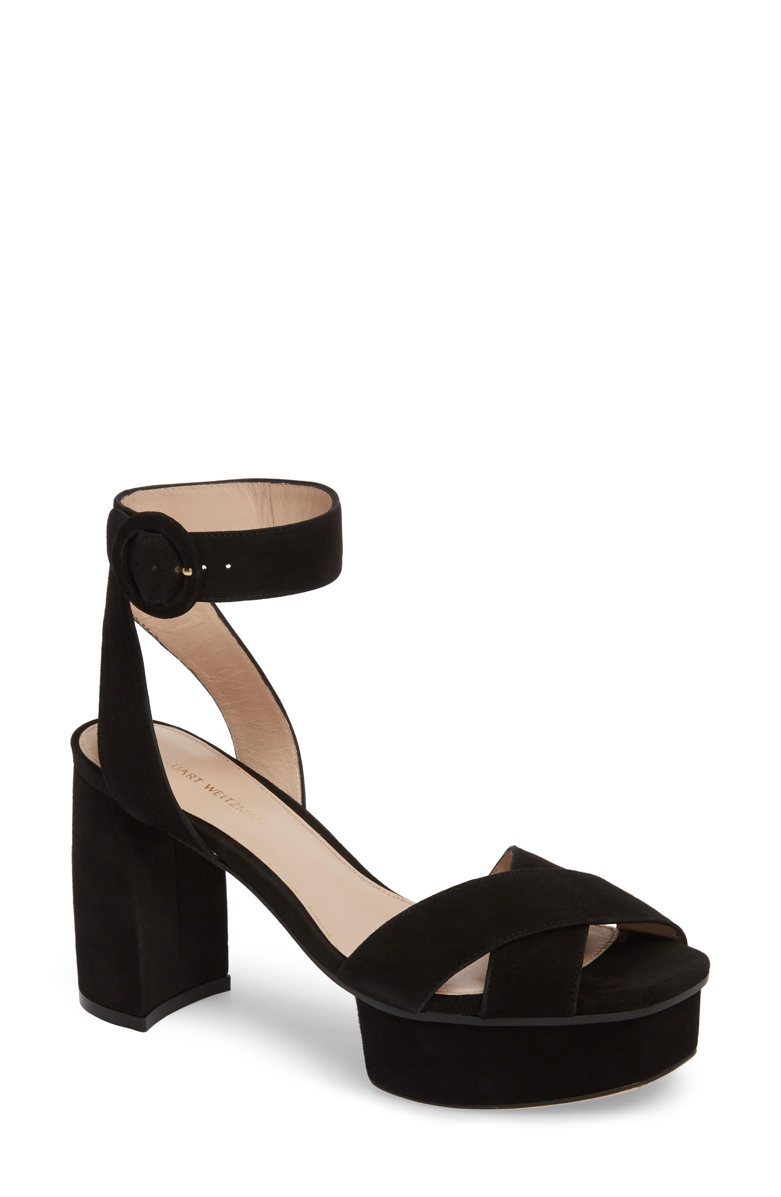 Carmina Ankle Strap Platform Sandal,                         Main,                         color, Black Seda Suede