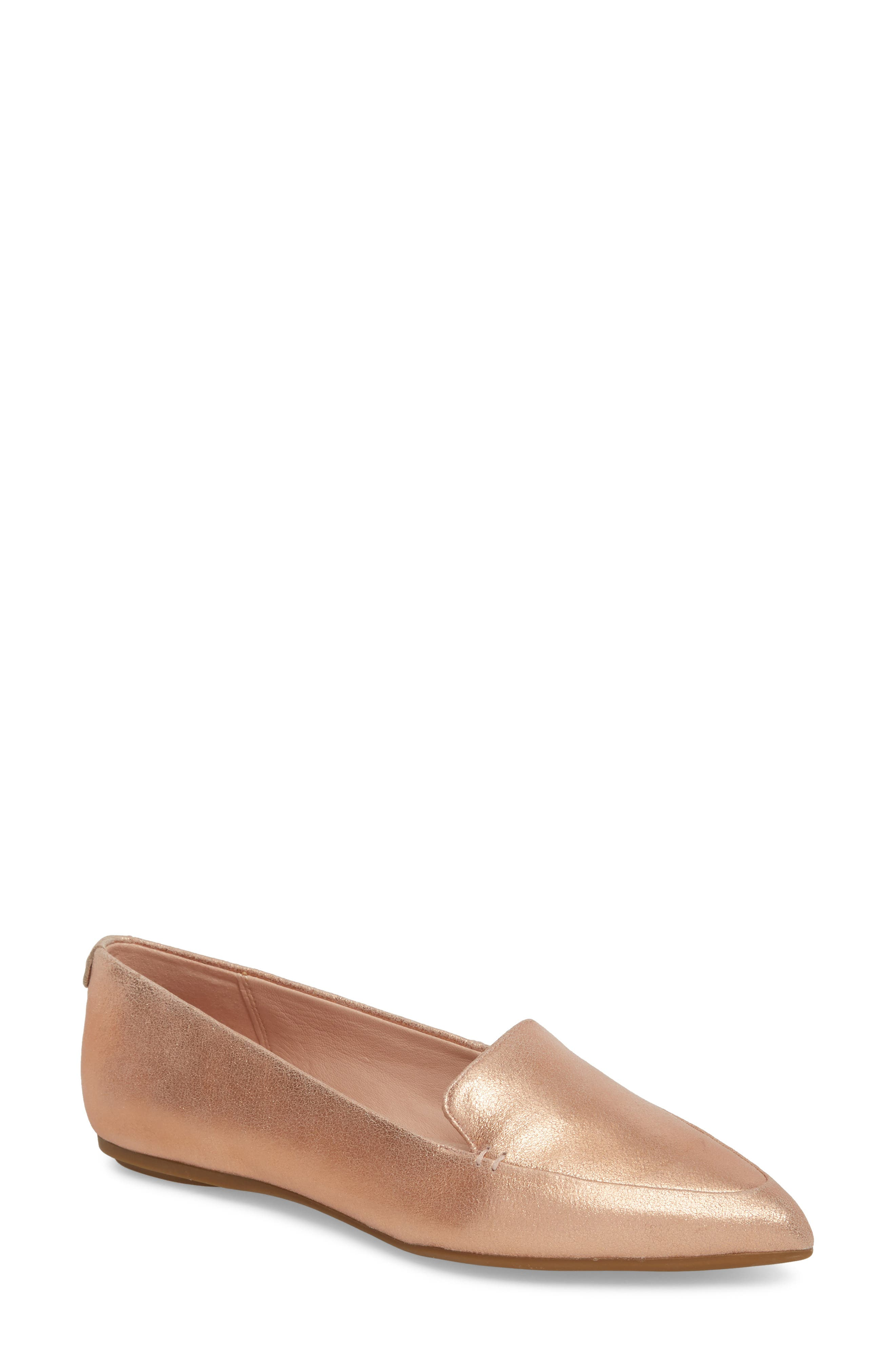 Faye Pointy Toe Loafer,                         Main,                         color, Rose Gold Metallic Leather