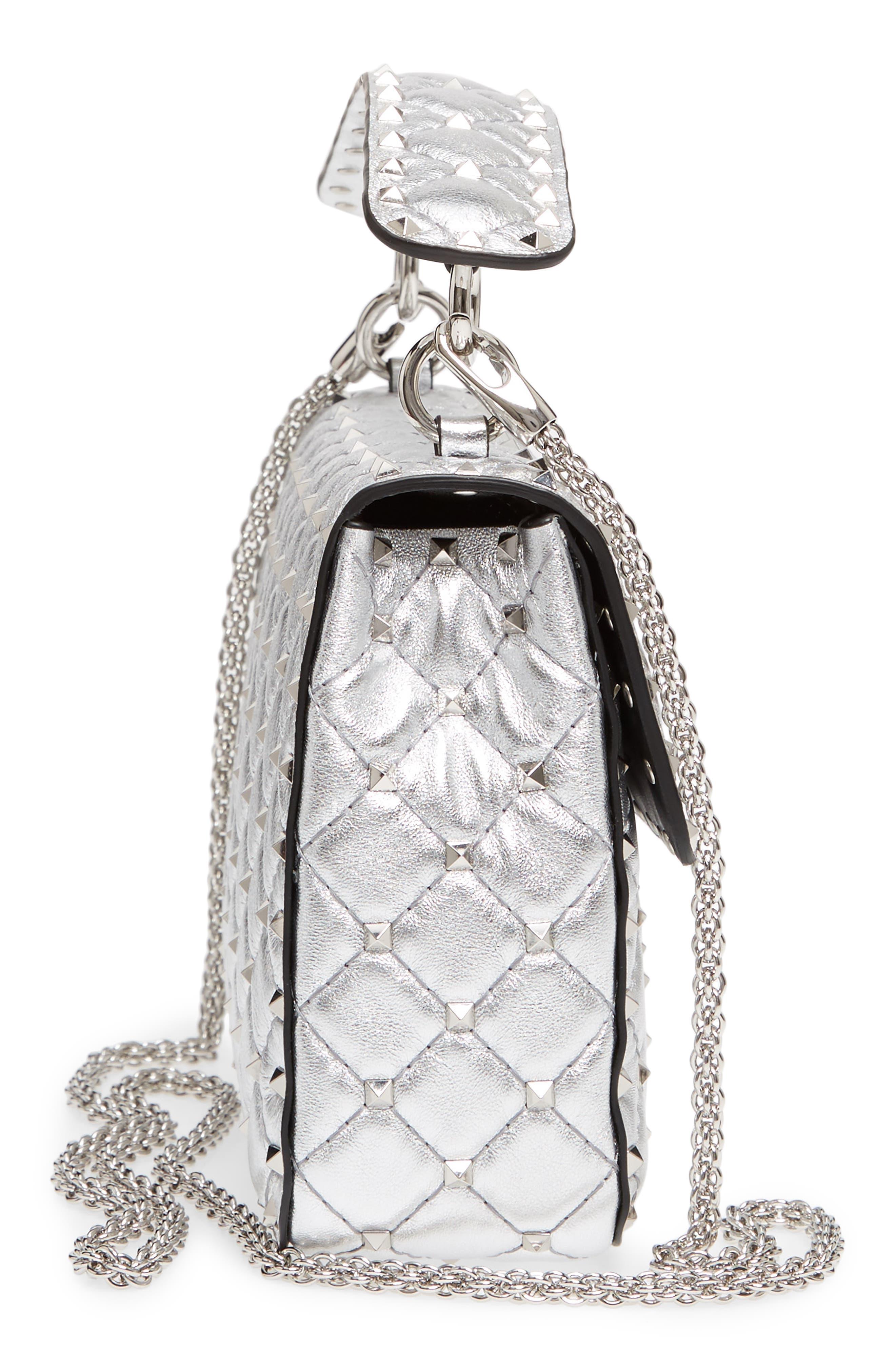 Medium Rockstud Spike Metallic Leather Shoulder Bag,                             Alternate thumbnail 5, color,                             Silver