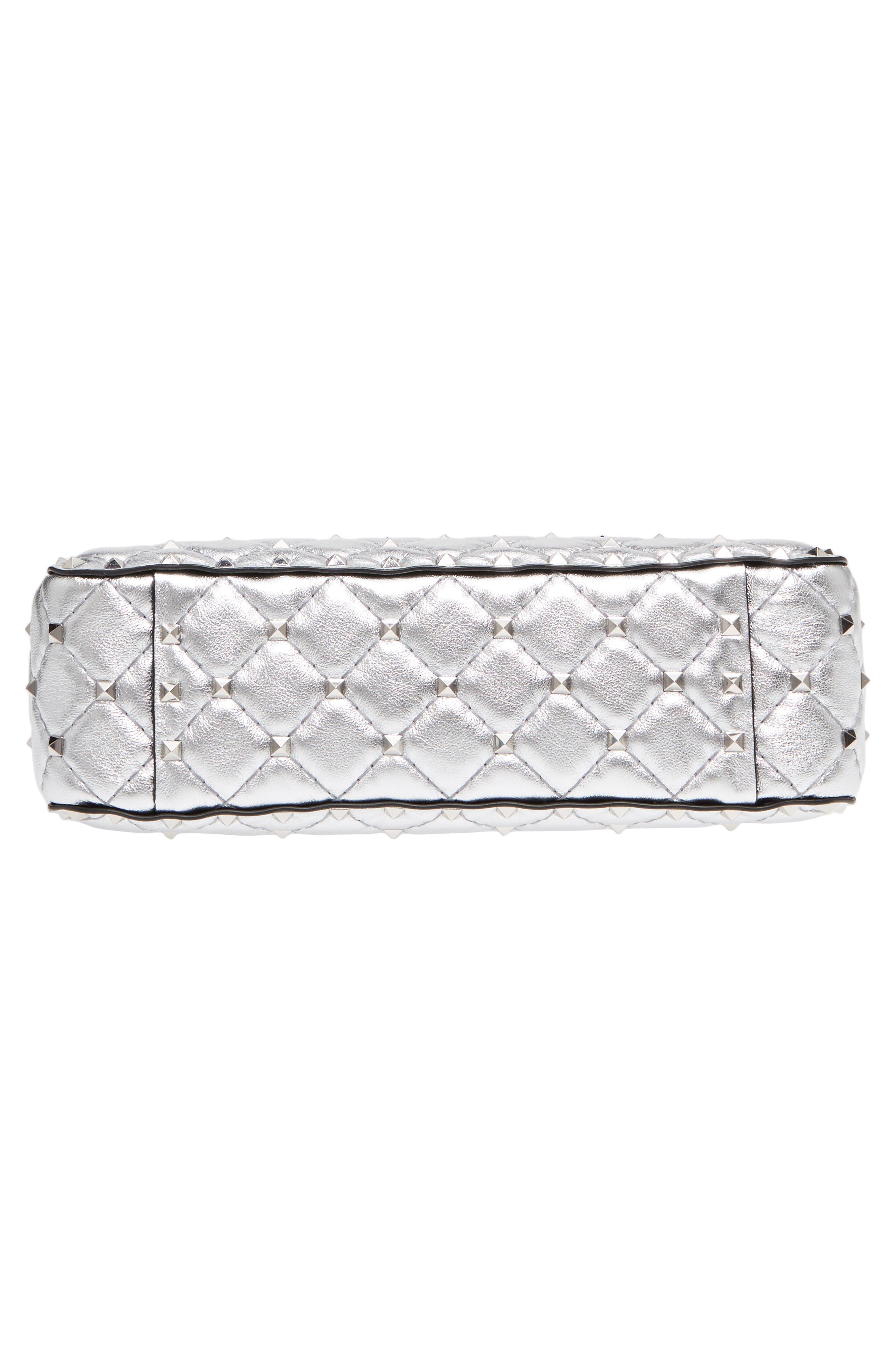 Medium Rockstud Spike Metallic Leather Shoulder Bag,                             Alternate thumbnail 6, color,                             Silver