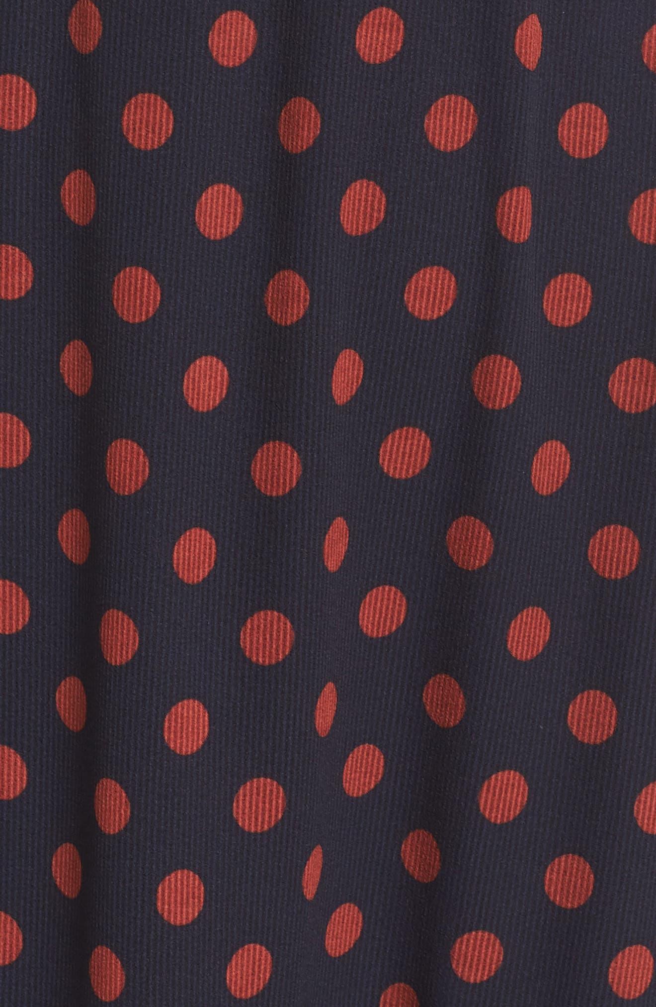 Dot Ruffle Maxi Dress,                             Alternate thumbnail 5, color,                             Navy/ Rust