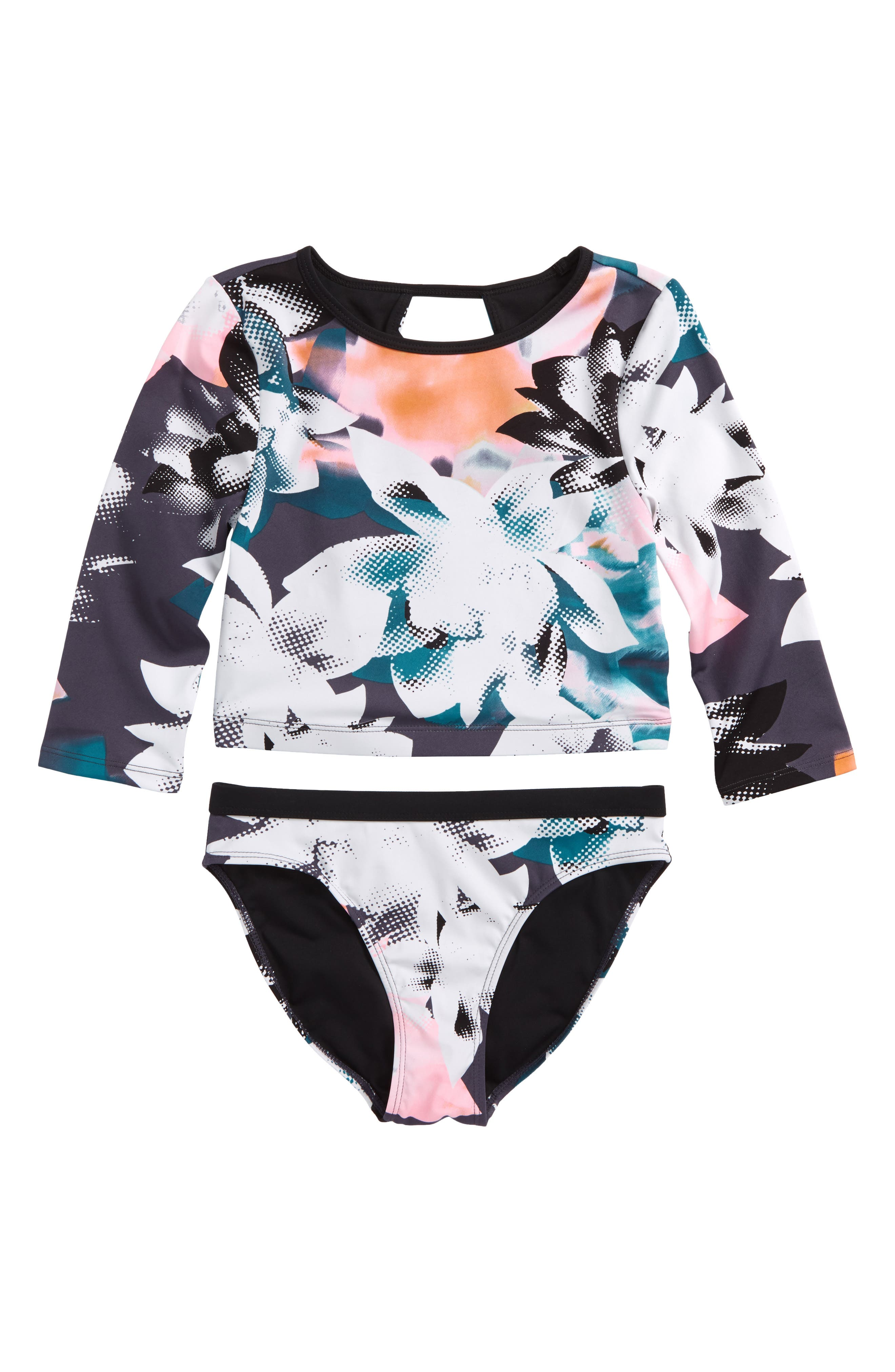 Scoop Two-Piece Rashguard Swimsuit,                         Main,                         color, Black Halftone Floral