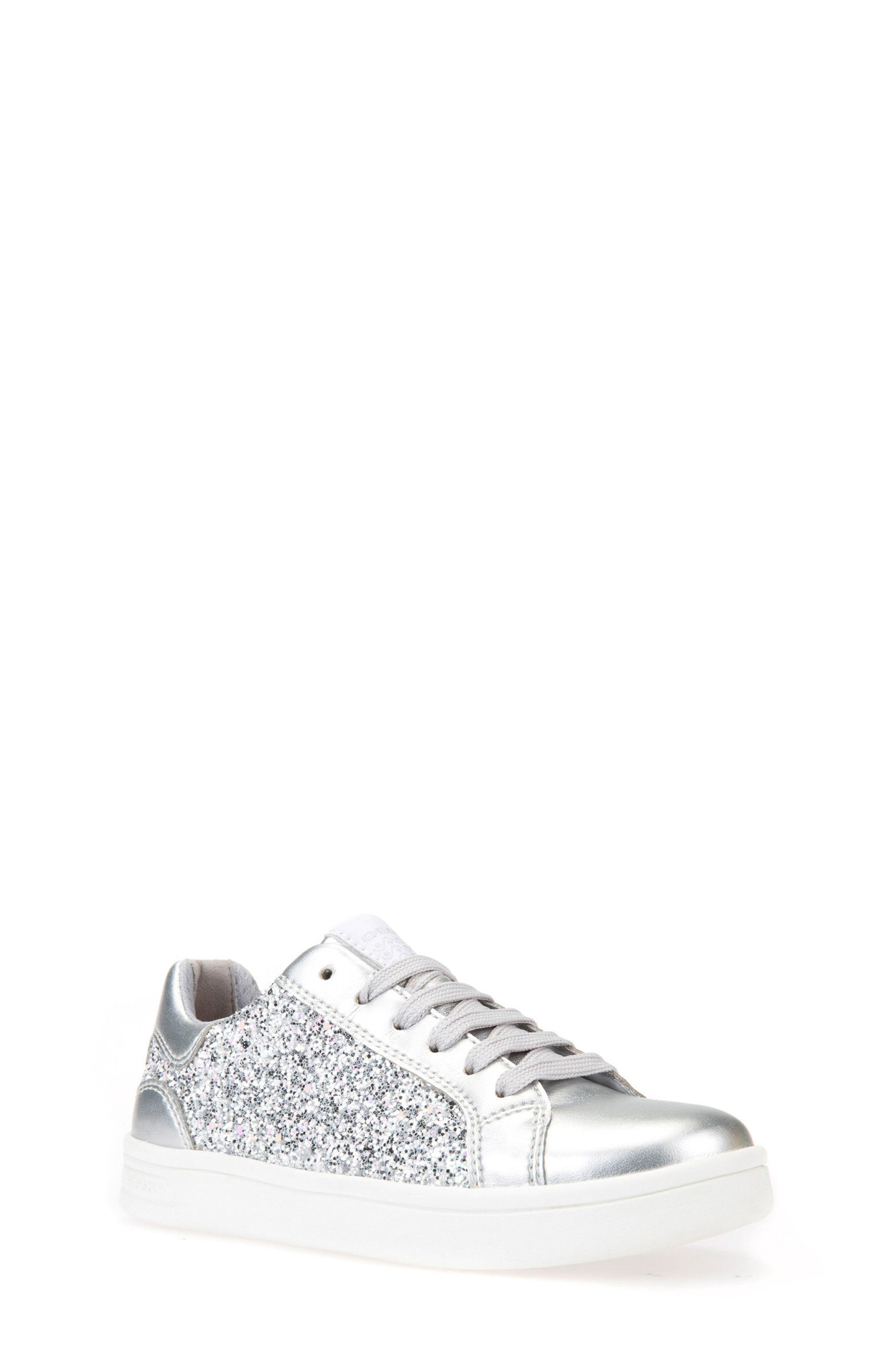DJ Rock Glitter Low Top Sneaker,                             Main thumbnail 1, color,                             Silver