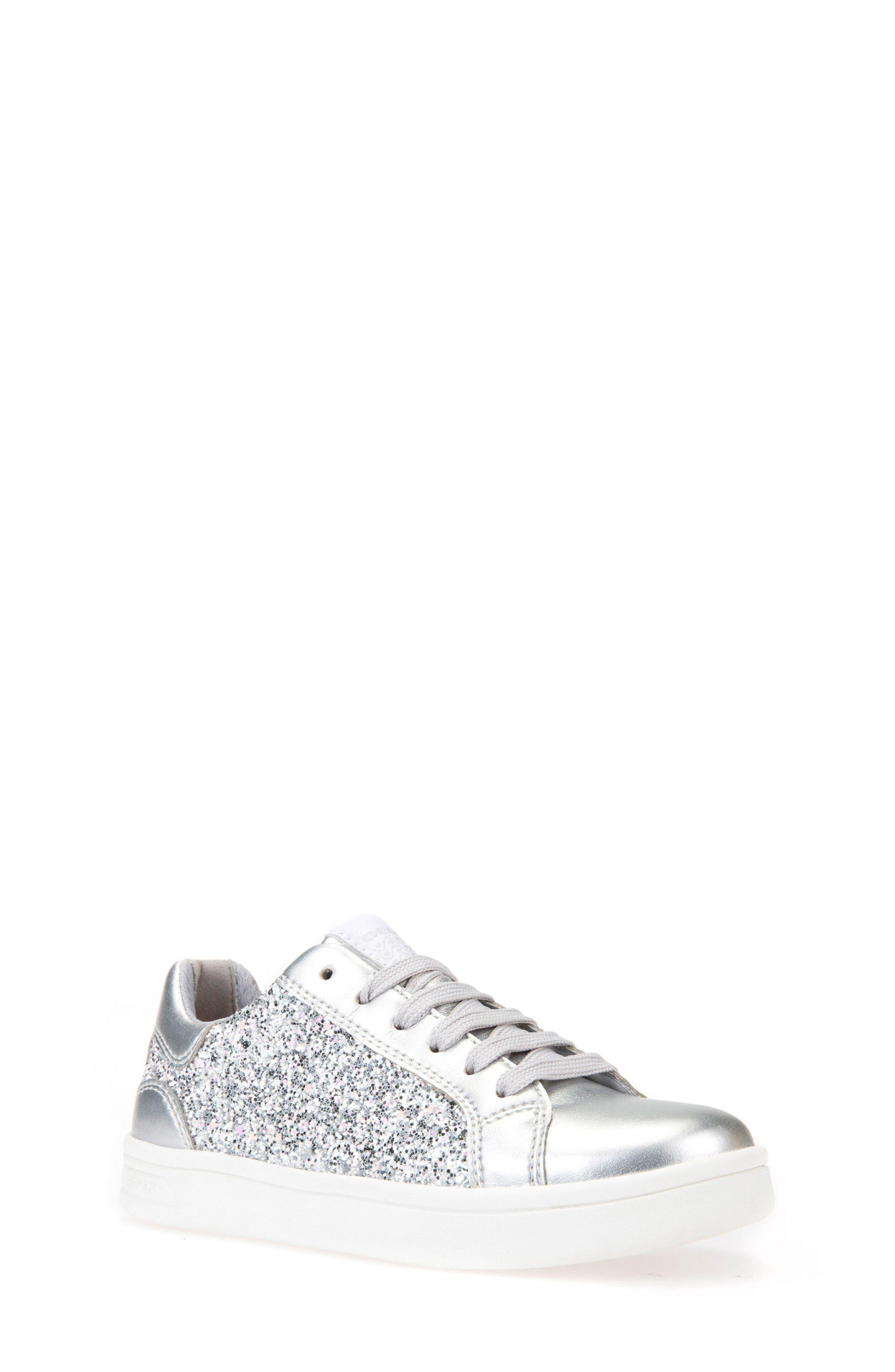 DJ Rock Glitter Low Top Sneaker,                         Main,                         color, Silver