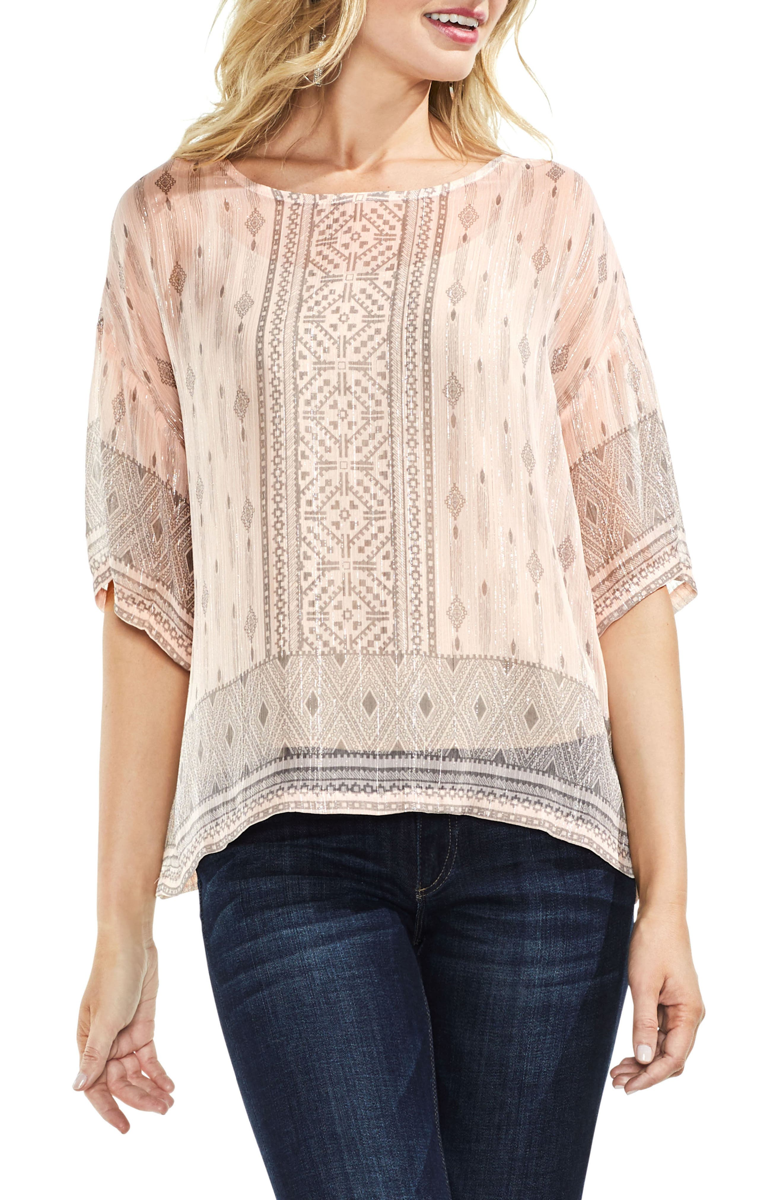 Delicate Diamond Geo Sheer Top,                             Main thumbnail 1, color,                             French Peach