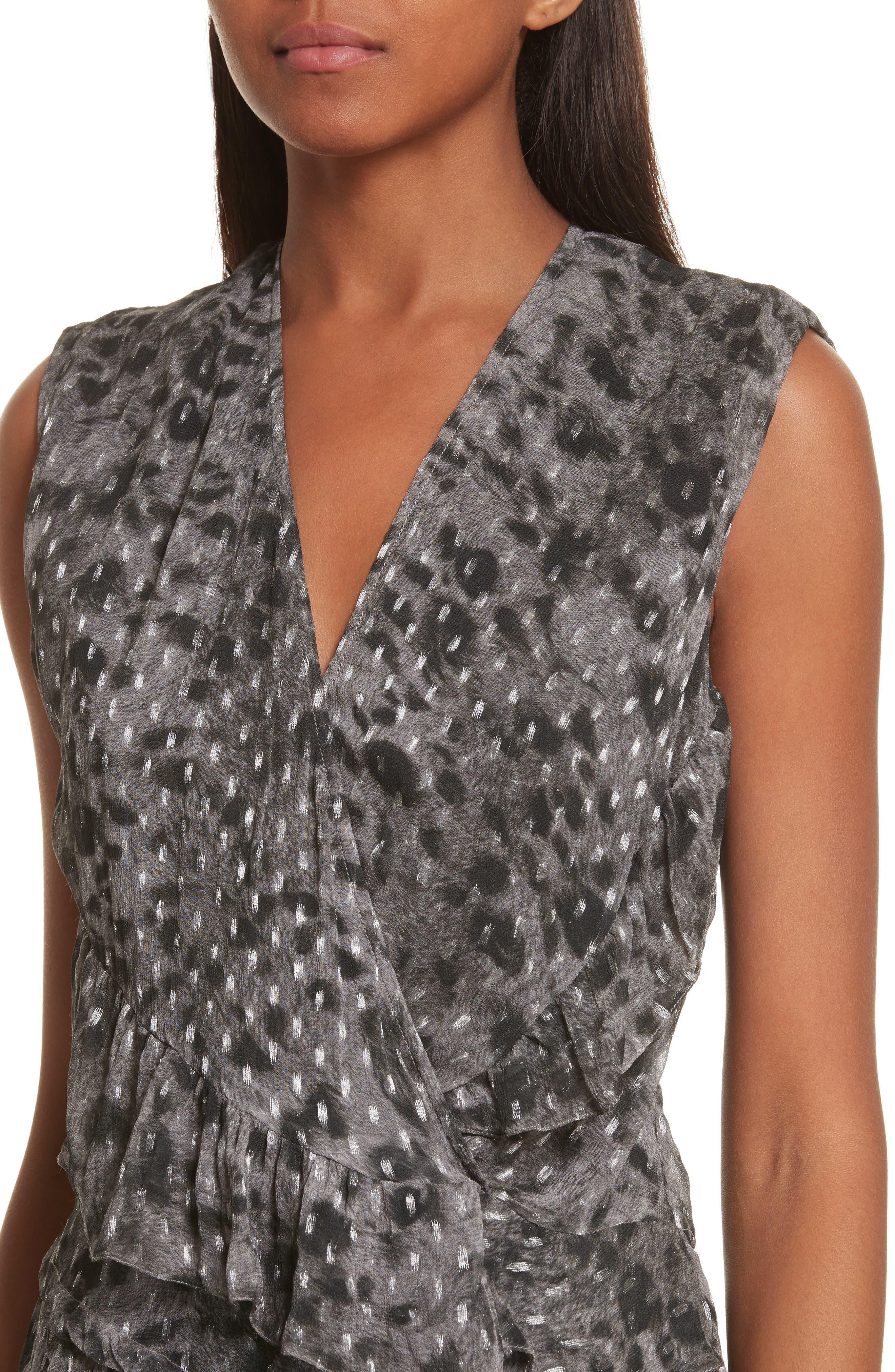 Corie Metallic Fil Coupé Dress,                             Alternate thumbnail 4, color,                             Charcoal