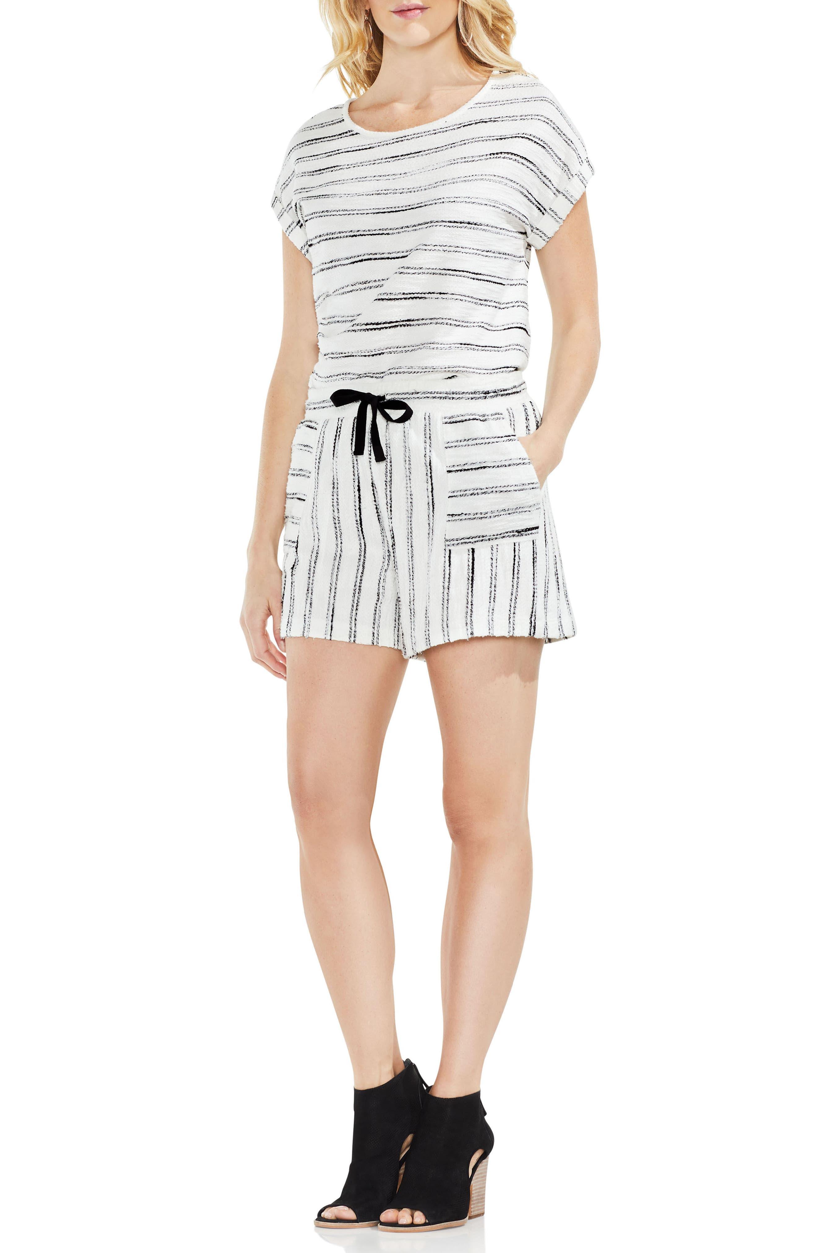 Drawstring Stripe Cotton Blend Shorts,                         Main,                         color, Rich Black