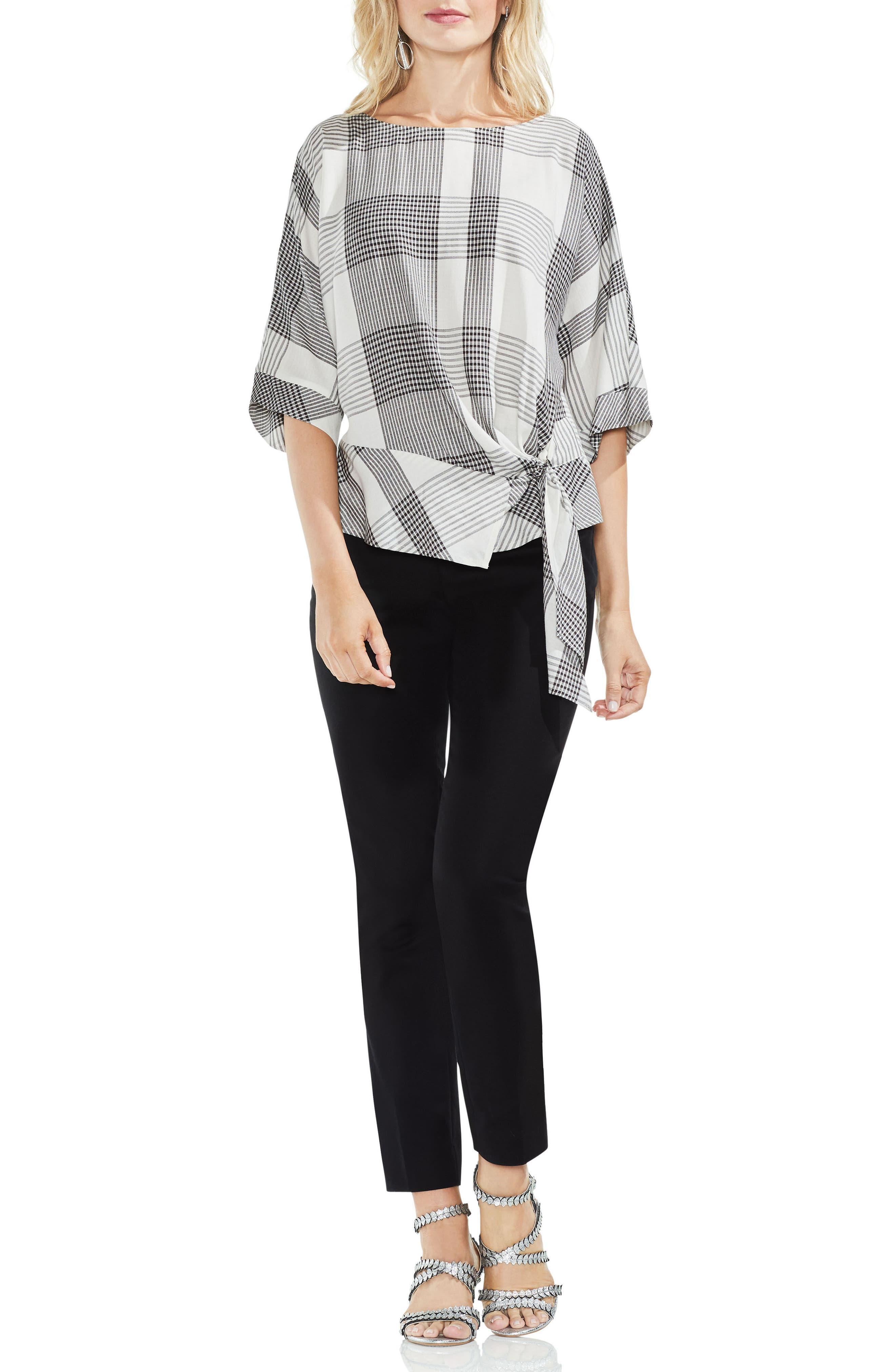 Oversize Plaid Dolman Sleeve Side Tie Top,                             Alternate thumbnail 3, color,                             Rich Black