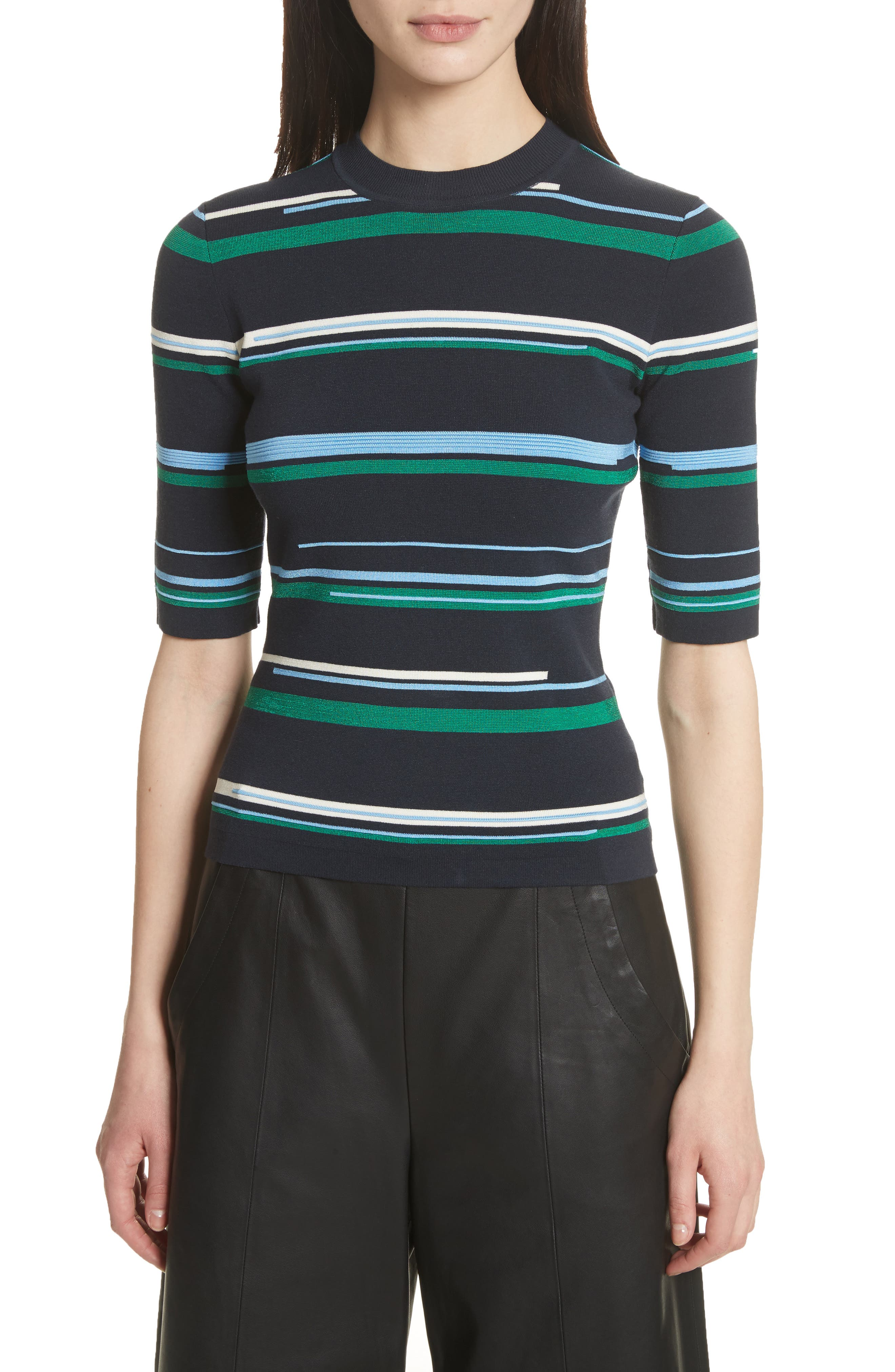 Stripe Knit Top,                             Main thumbnail 1, color,                             Midnight Multi