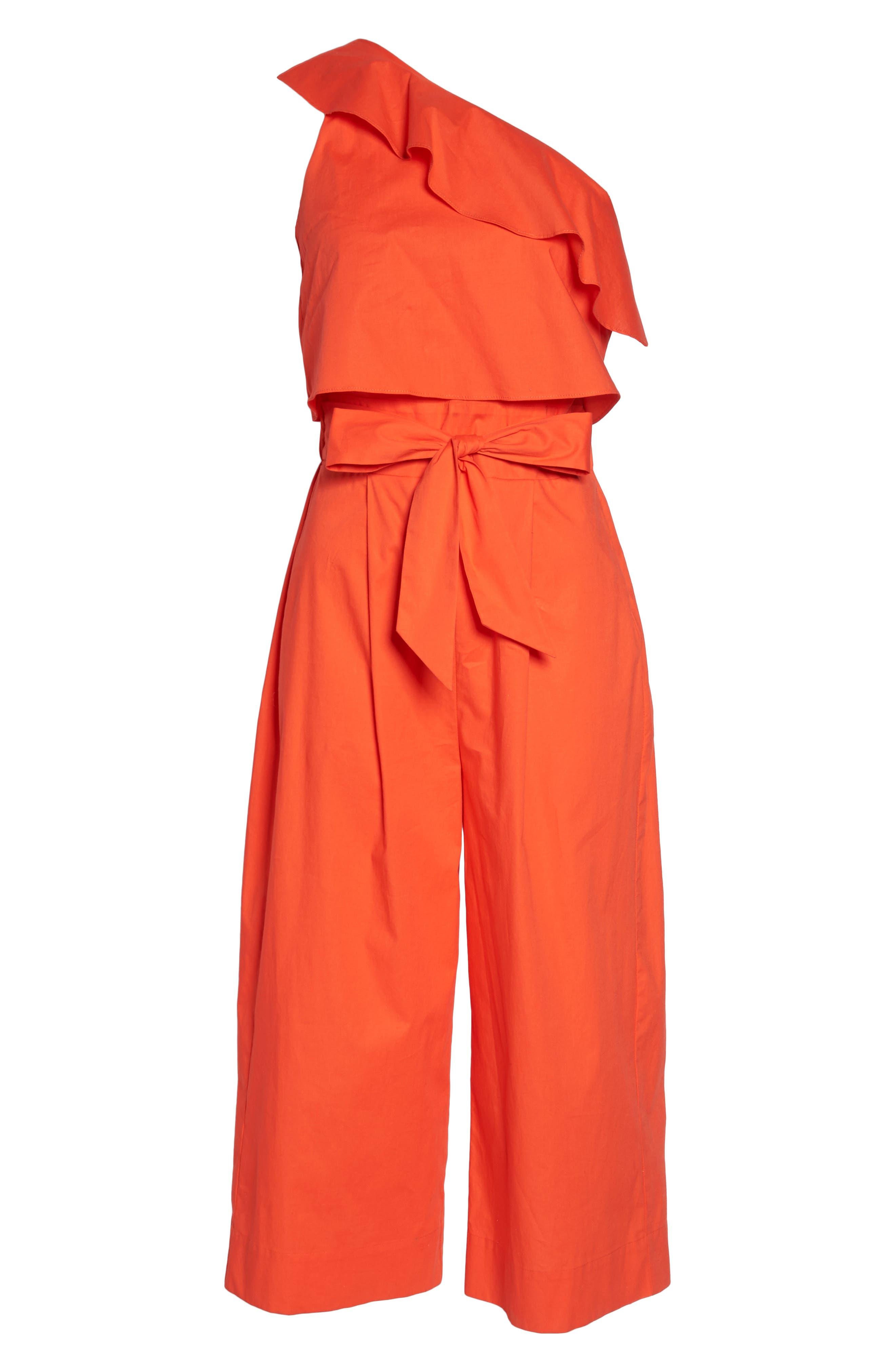 Ruffle One-Shoulder Crop Jumpsuit,                             Alternate thumbnail 6, color,                             Blood Orange