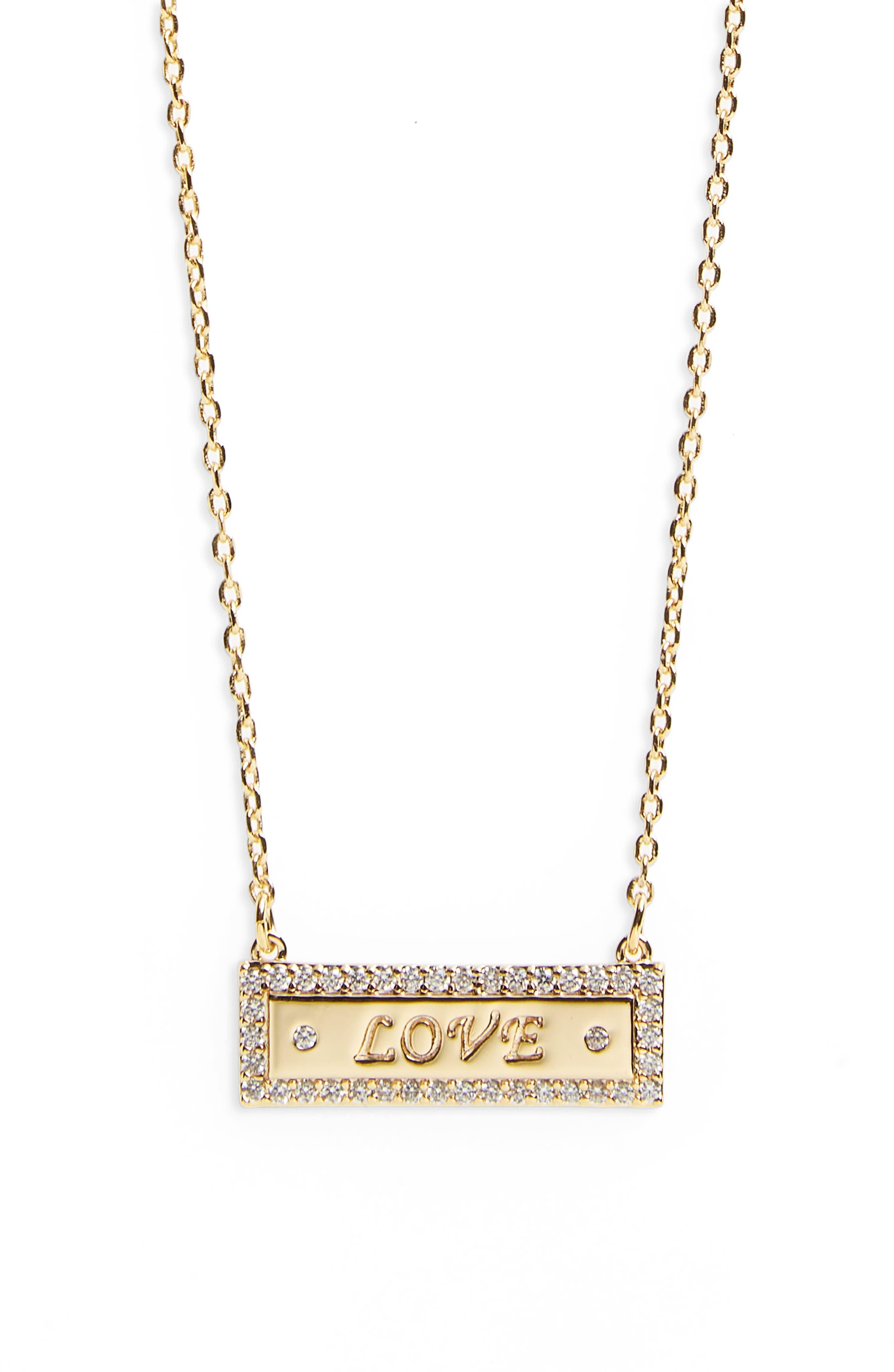 Bar Necklace,                             Main thumbnail 1, color,                             Love - Gold