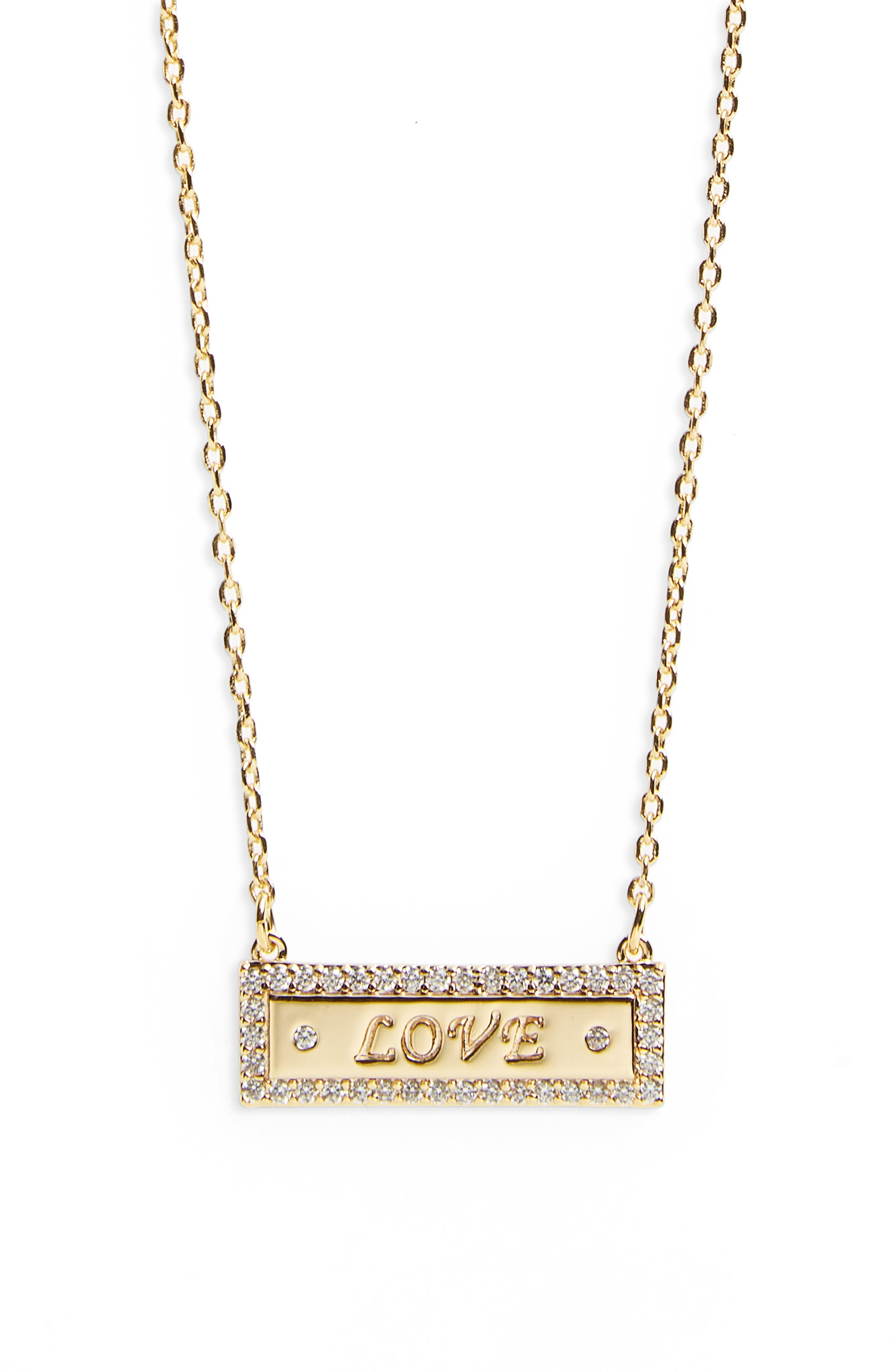 Bar Necklace,                         Main,                         color, Love - Gold