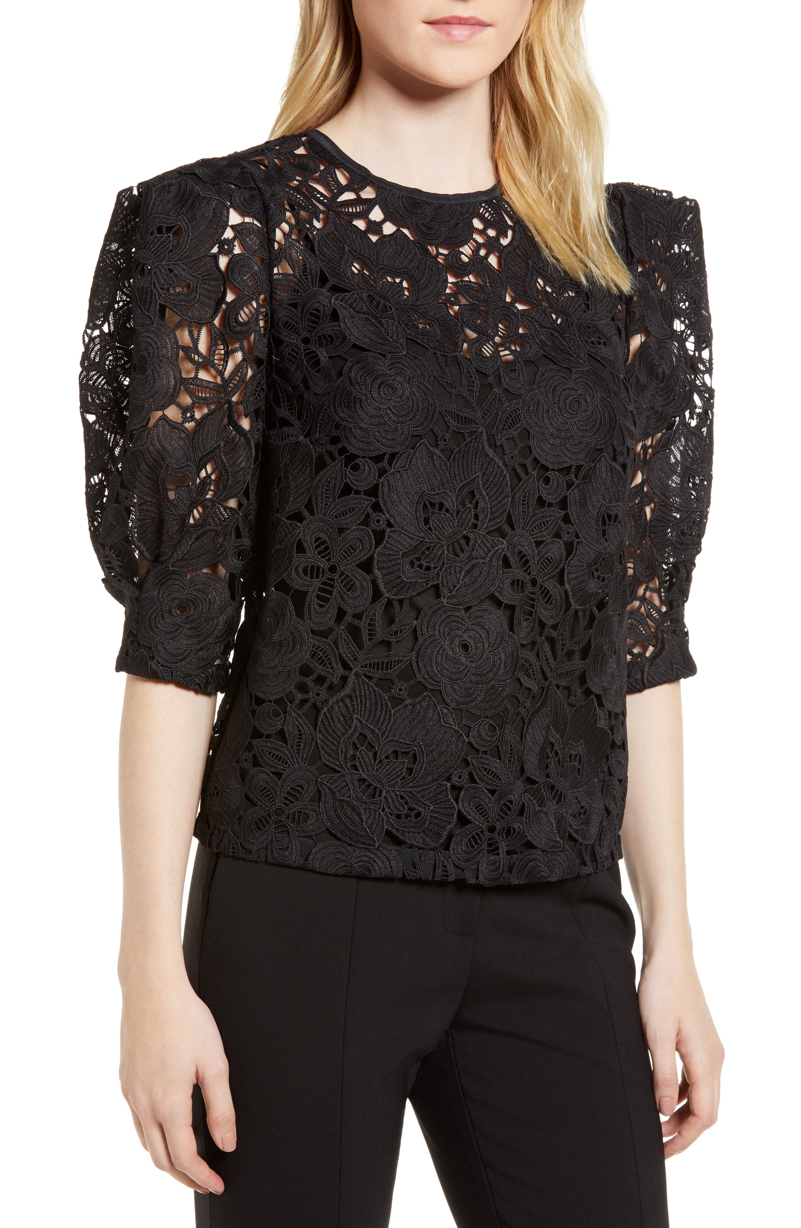 Puff Sleeve Lace Blouse,                         Main,                         color, Black