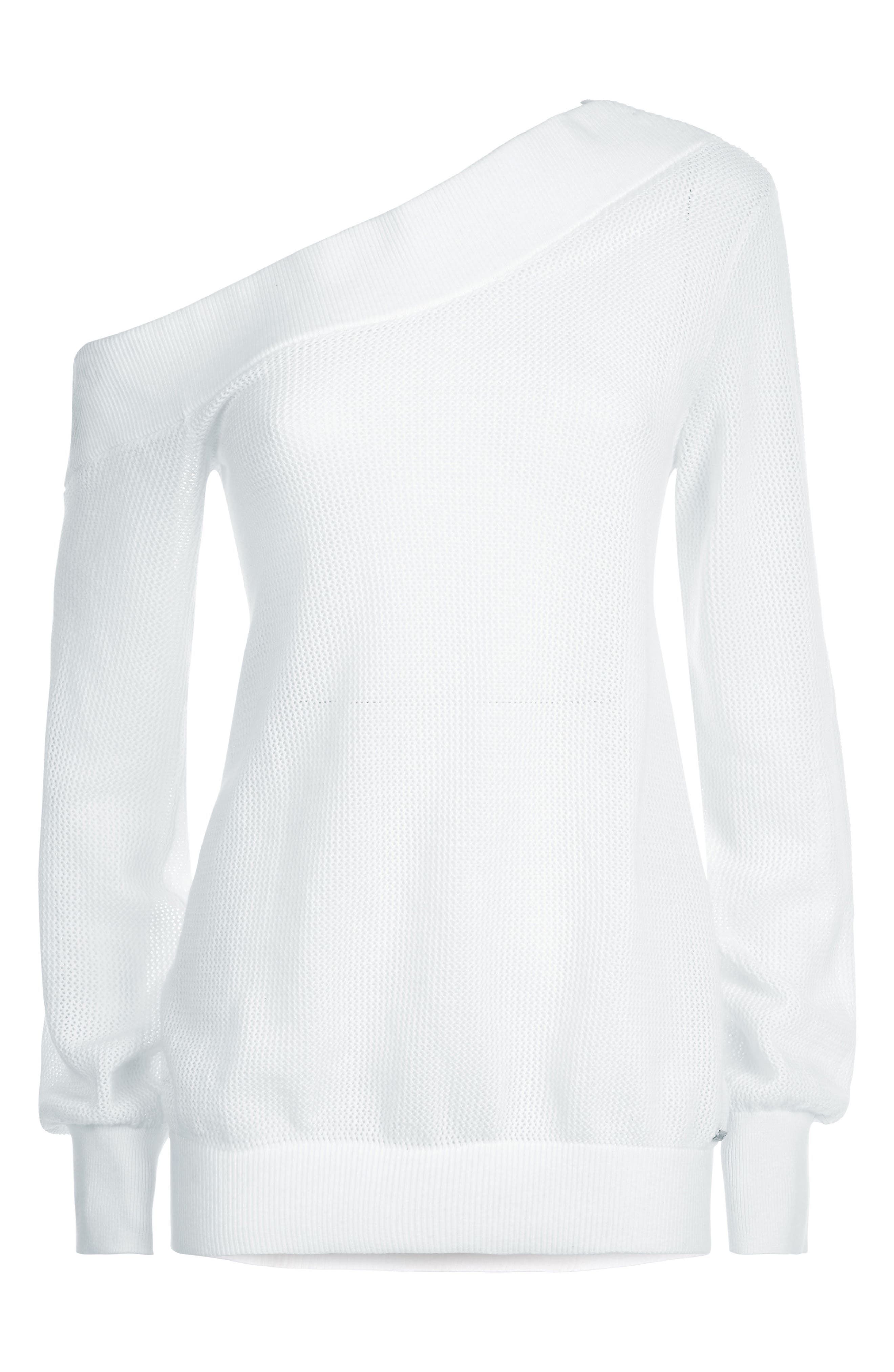 Sweat Betty Enliven One-Shoulder Sweater,                             Alternate thumbnail 5, color,                             White