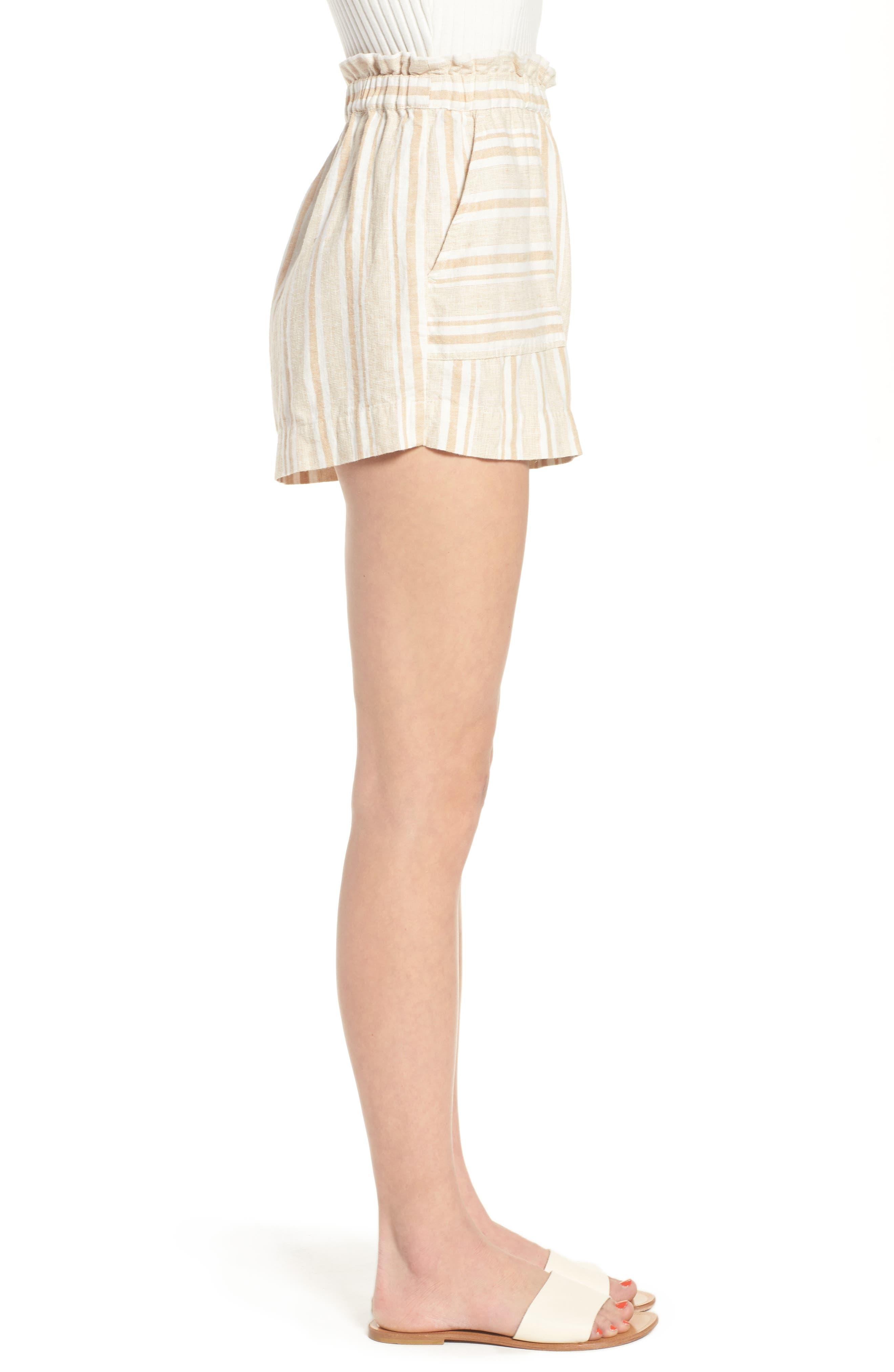 Stripe Linen Blend Shorts,                             Alternate thumbnail 3, color,                             Tan Lark Viola Stripe