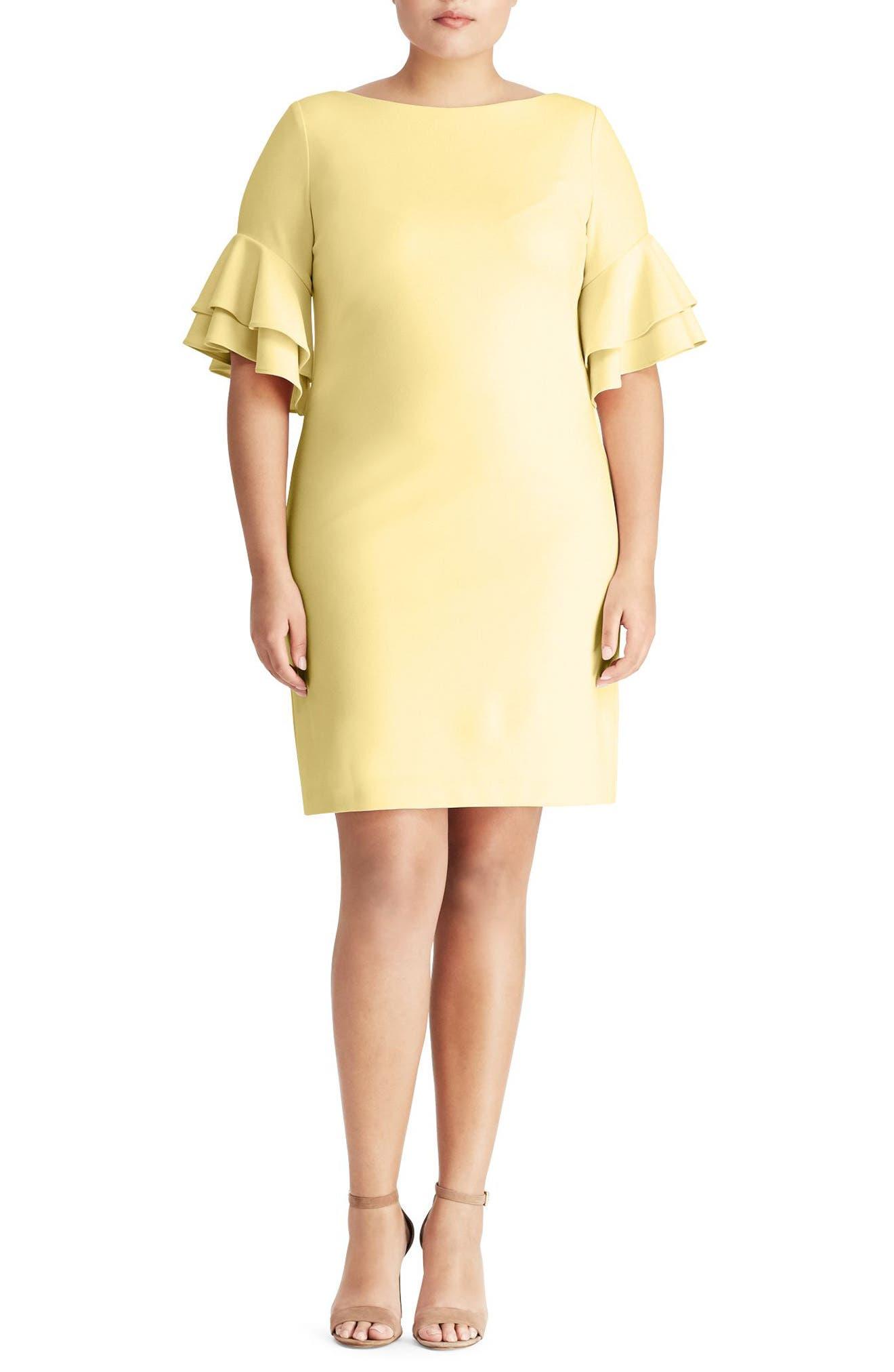 Silvana Ruffle Sleeve Sheath Dress,                         Main,                         color, Island Yellow