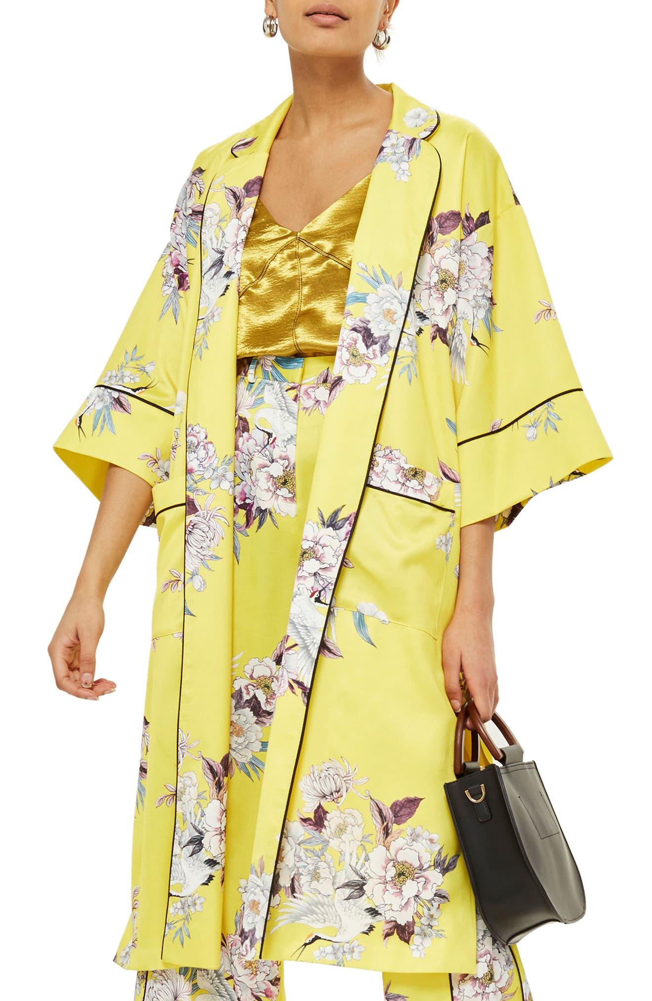 Heron Print Kimono,                             Main thumbnail 1, color,                             Yellow Multi