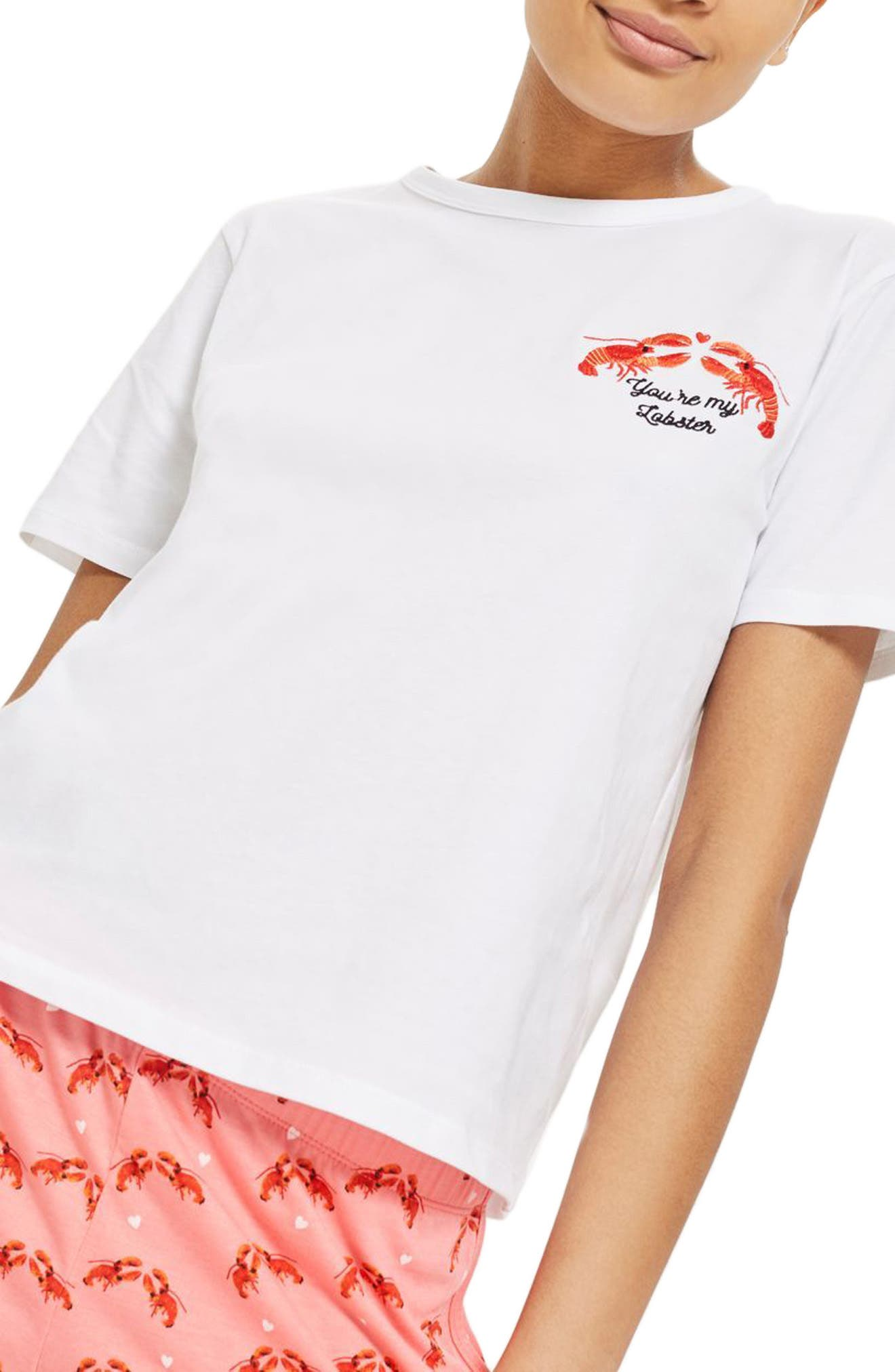 You're My Lobster Short Pajamas,                             Main thumbnail 1, color,                             Pink Multi