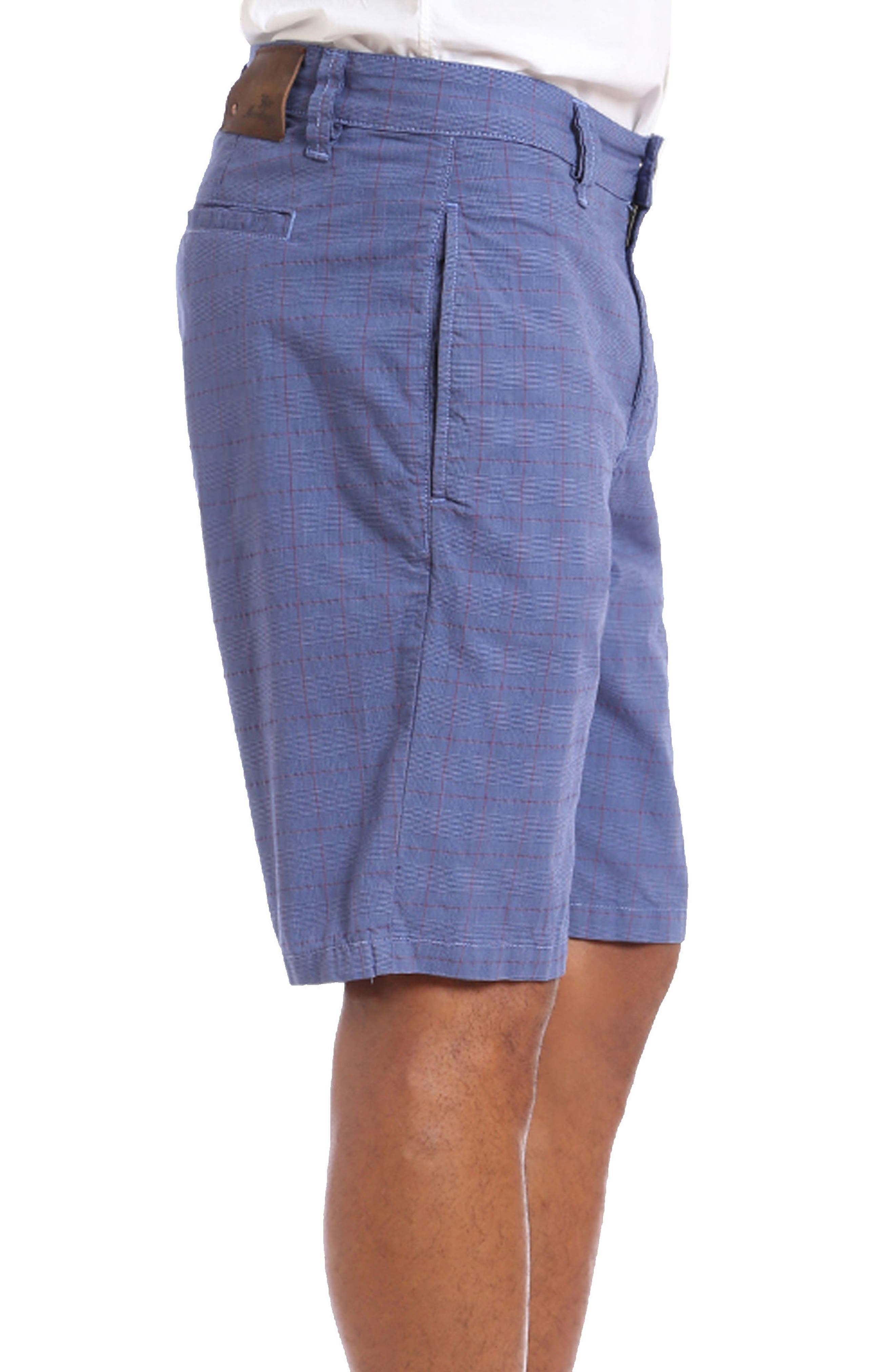 Nevada Twill Shorts,                             Alternate thumbnail 3, color,                             Indigo Plaid