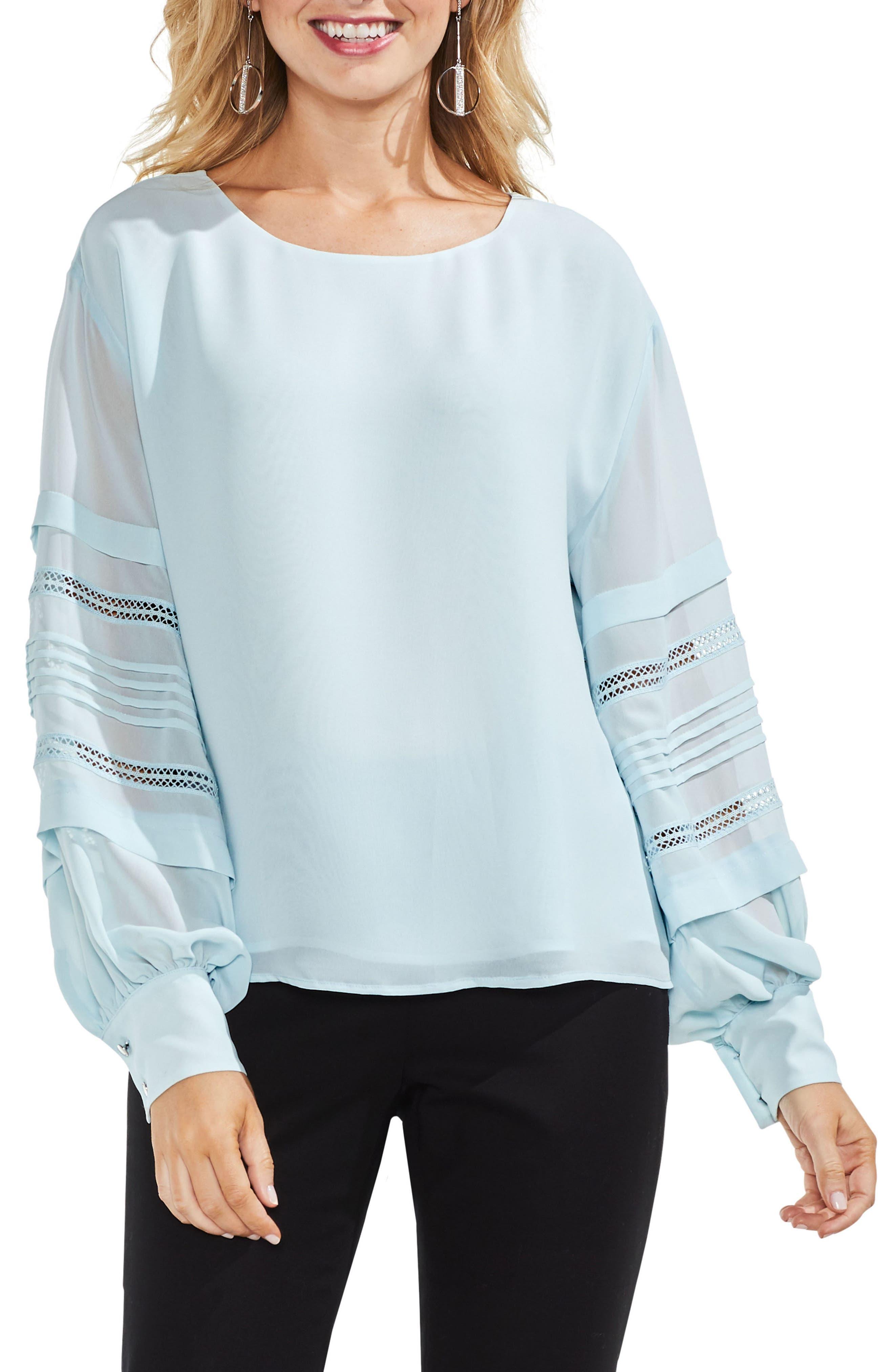 Pintuck Sleeve Blouse,                             Main thumbnail 1, color,                             Chalk Blue