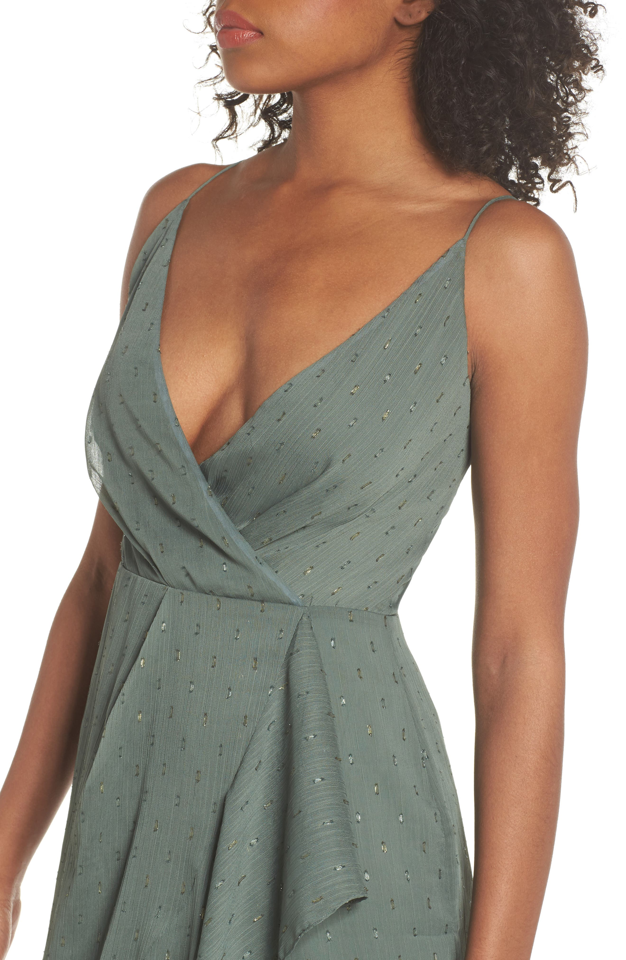 Wind In The Willows Drape Dress,                             Alternate thumbnail 4, color,                             Pine Green
